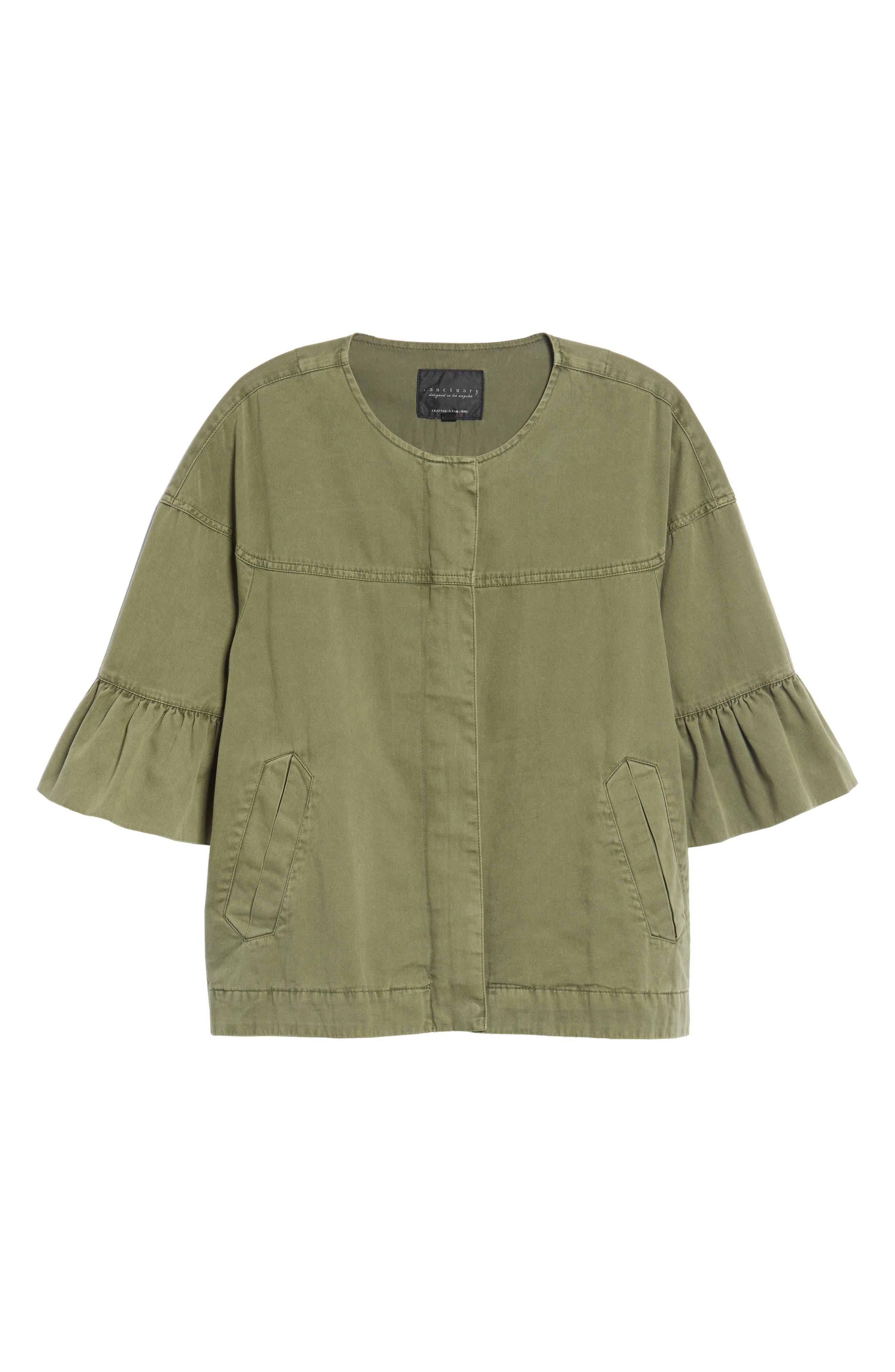 Scout Ruffle Sleeve Jacket,                             Alternate thumbnail 5, color,                             Cadet