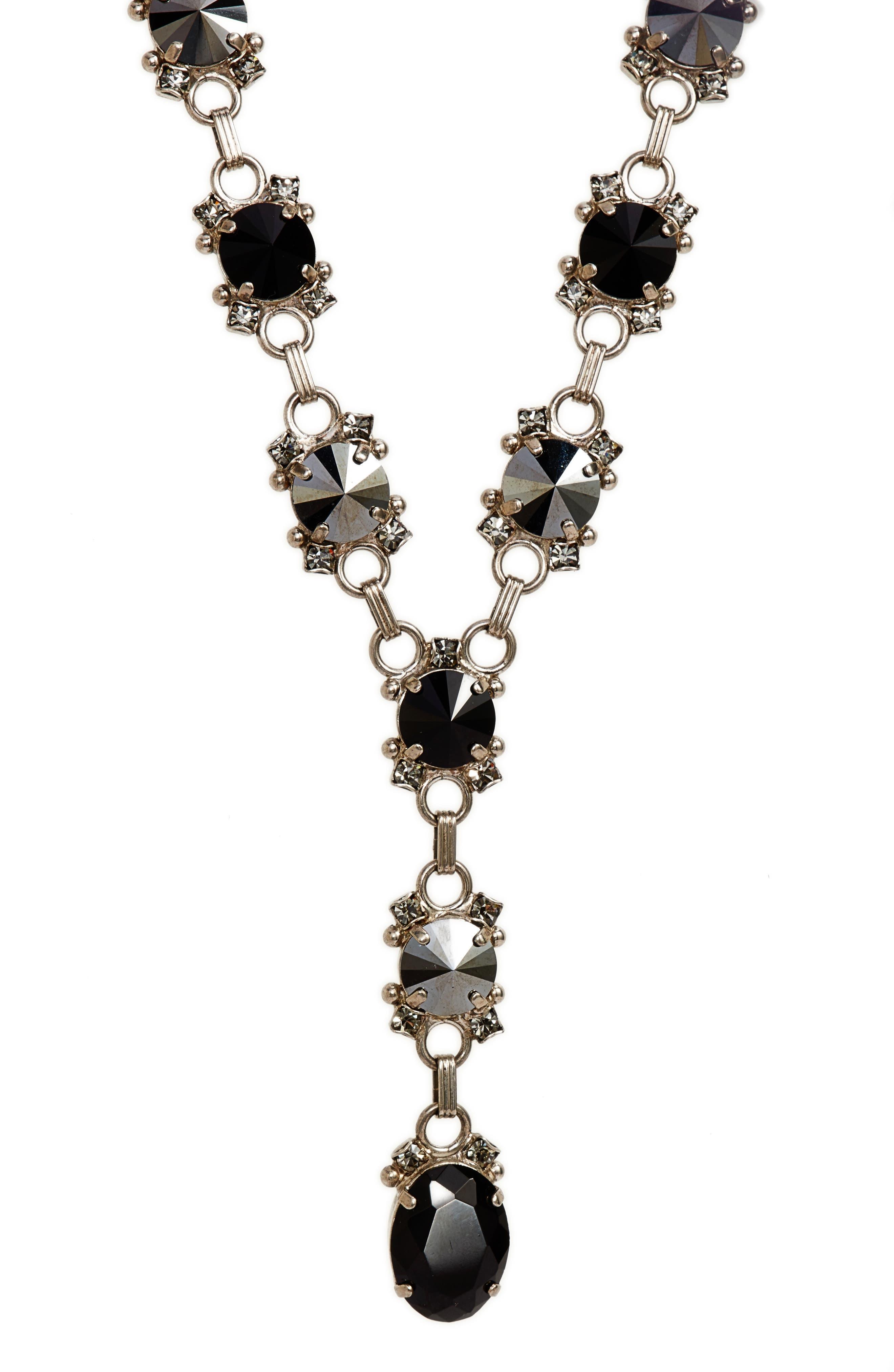 Marigold Crystal Station Y-Necklace,                             Alternate thumbnail 2, color,                             Black