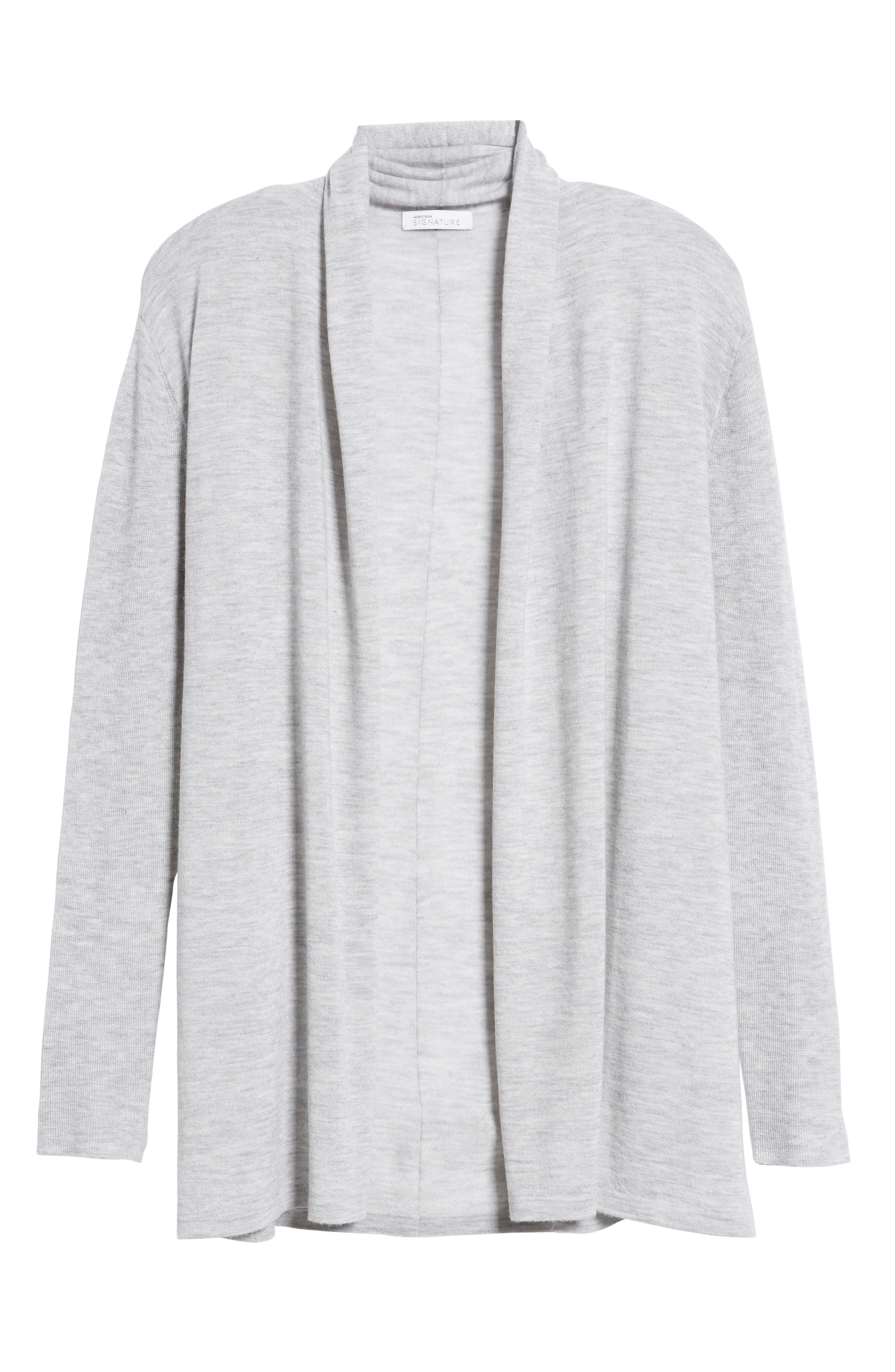 Cashmere Cardigan,                             Alternate thumbnail 6, color,                             Grey Clay Heather
