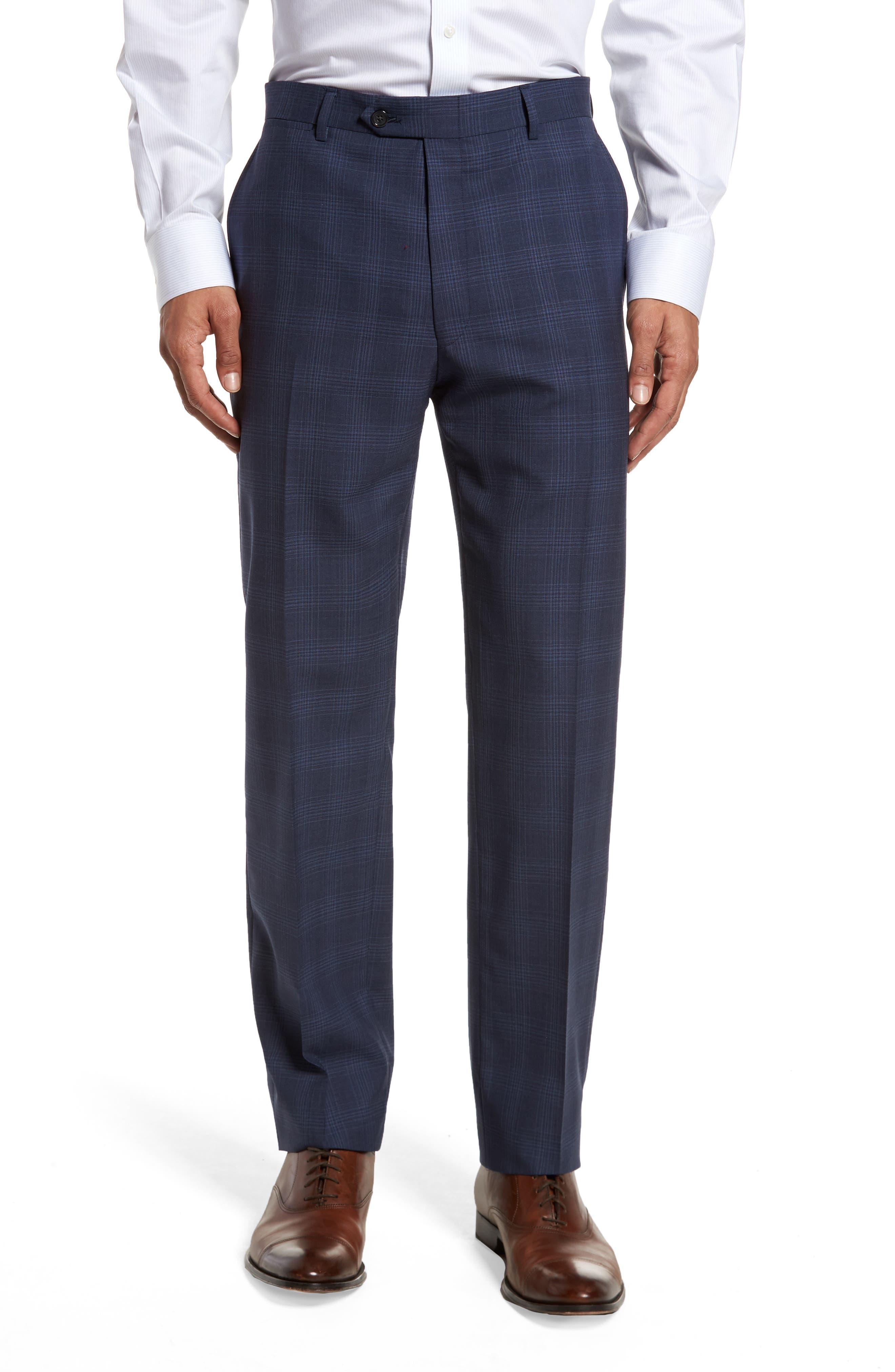 Classic Fit Plaid Wool Suit,                             Alternate thumbnail 6, color,                             Navy