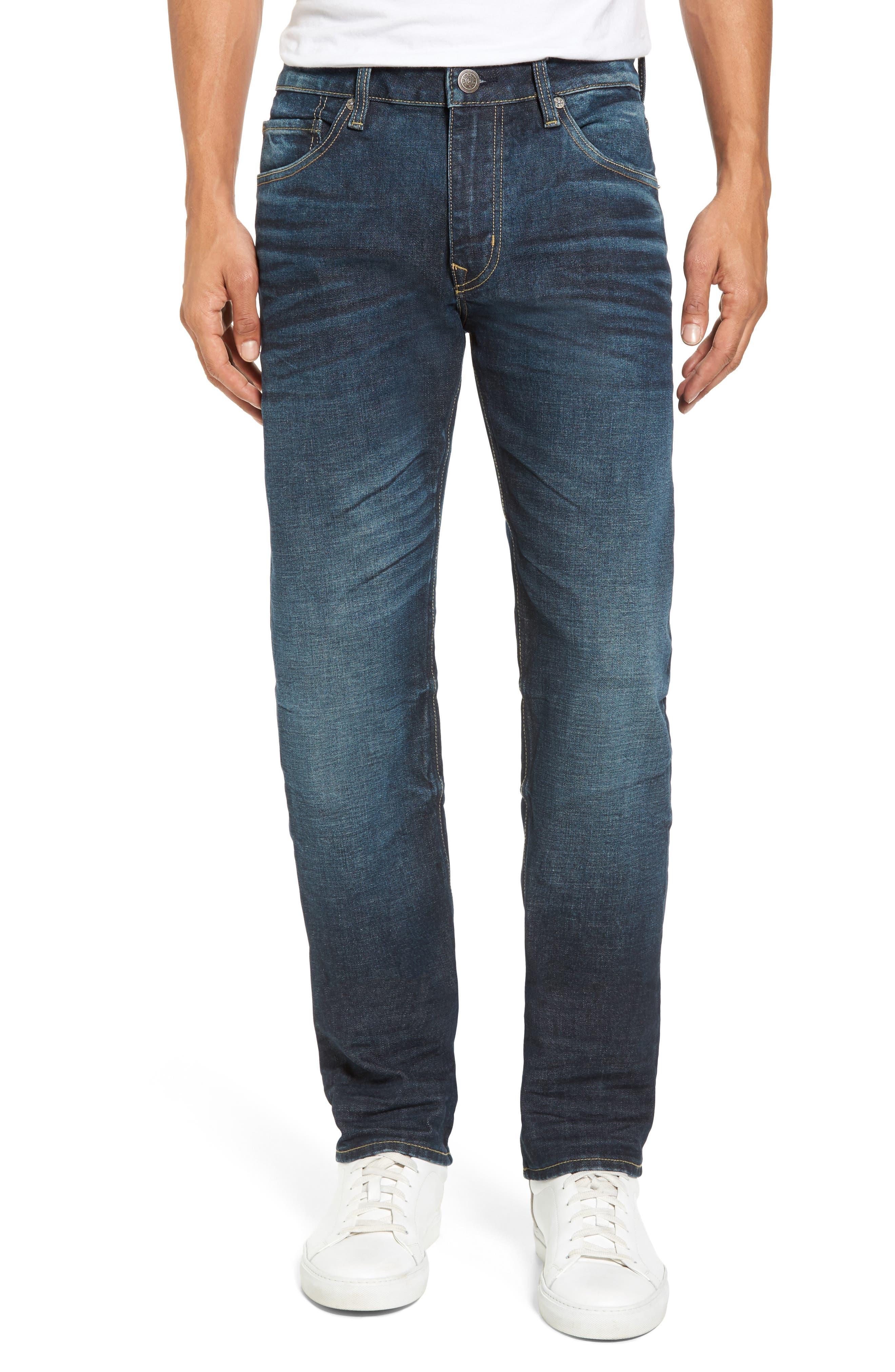 Slim Straight Leg Jeans,                             Main thumbnail 1, color,                             Dark Wash