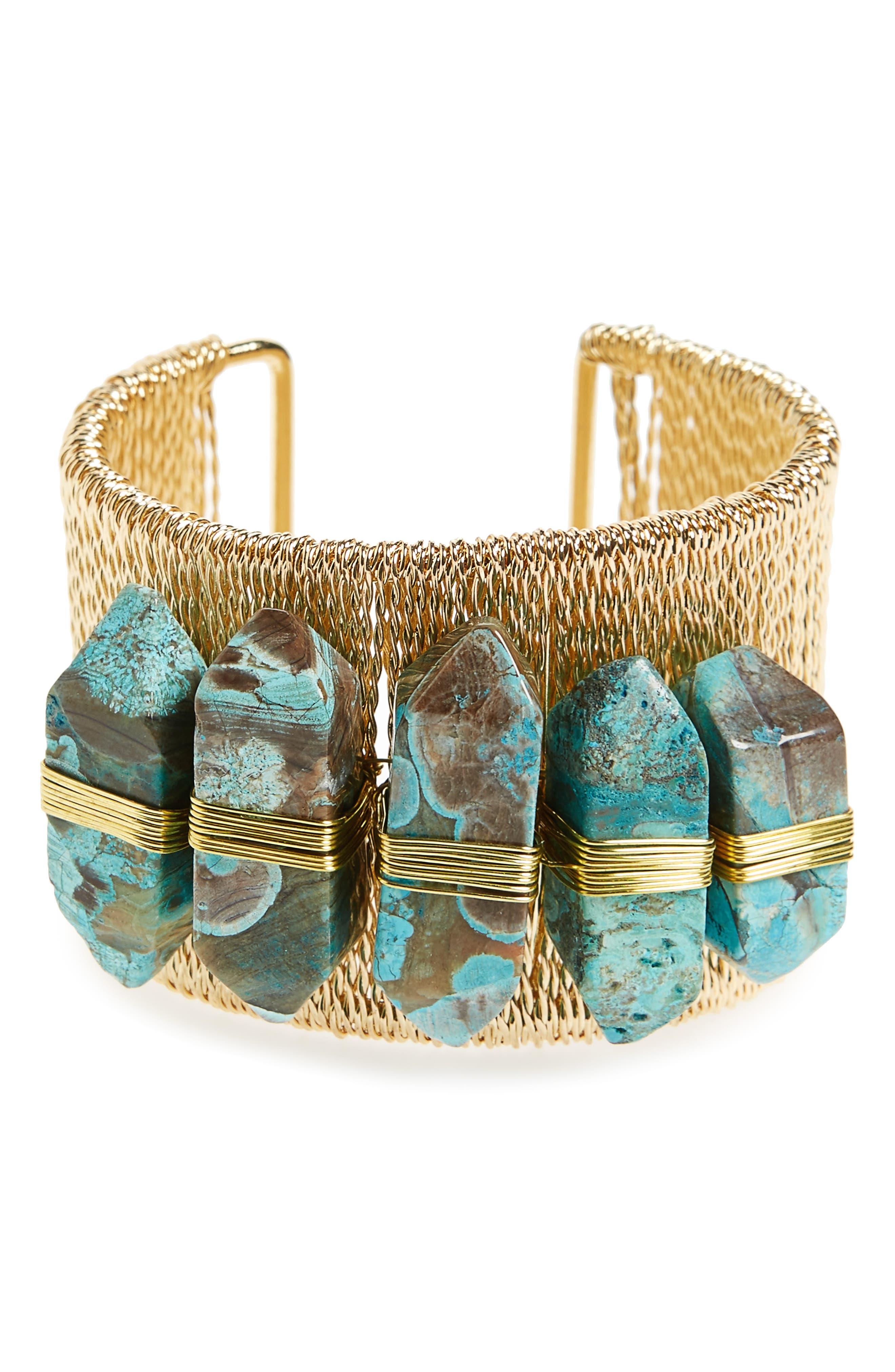 Cuff Bracelet,                         Main,                         color, Turquoise