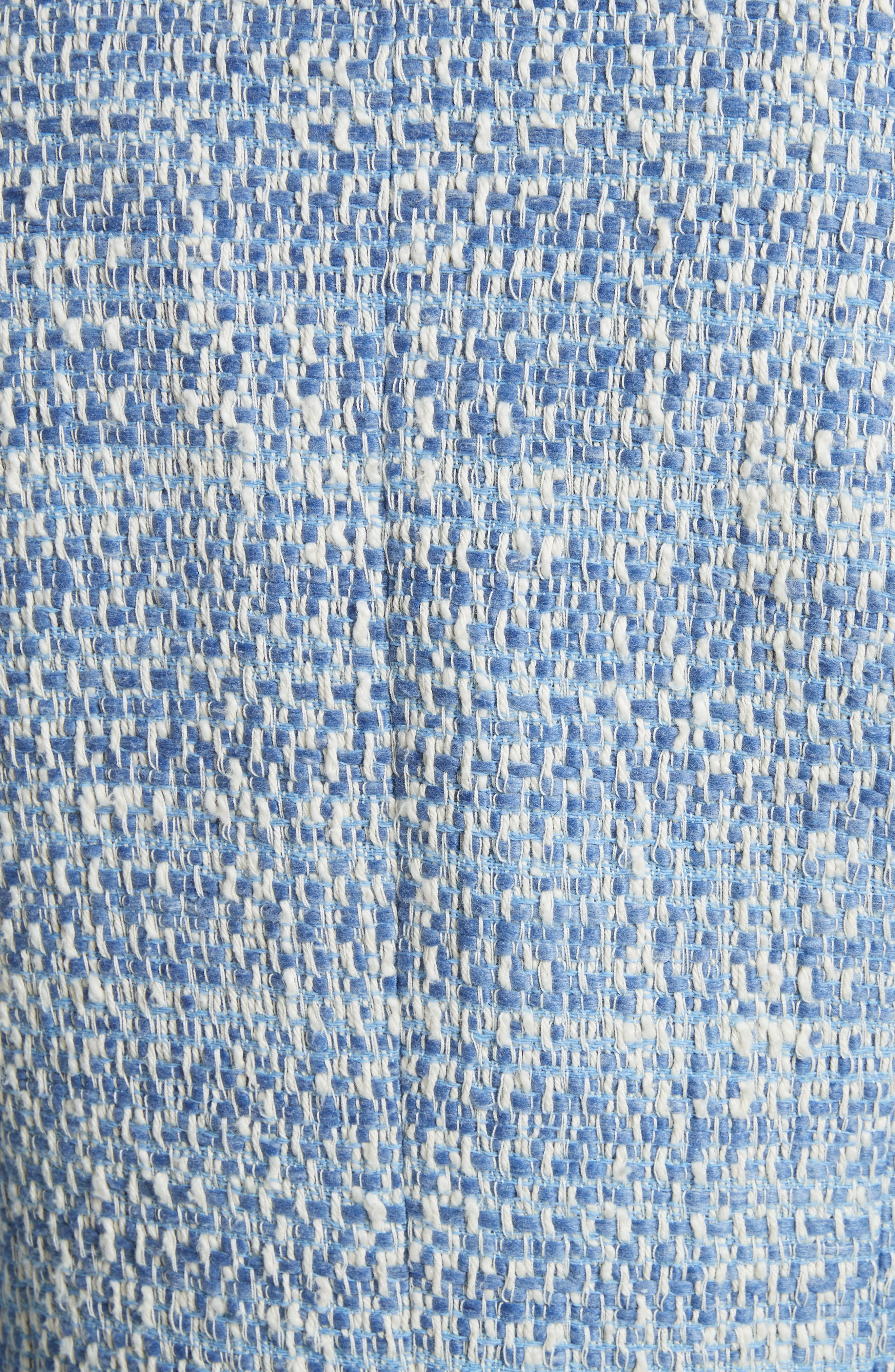 Long Tweed Jacket,                             Alternate thumbnail 5, color,                             Pale Blue