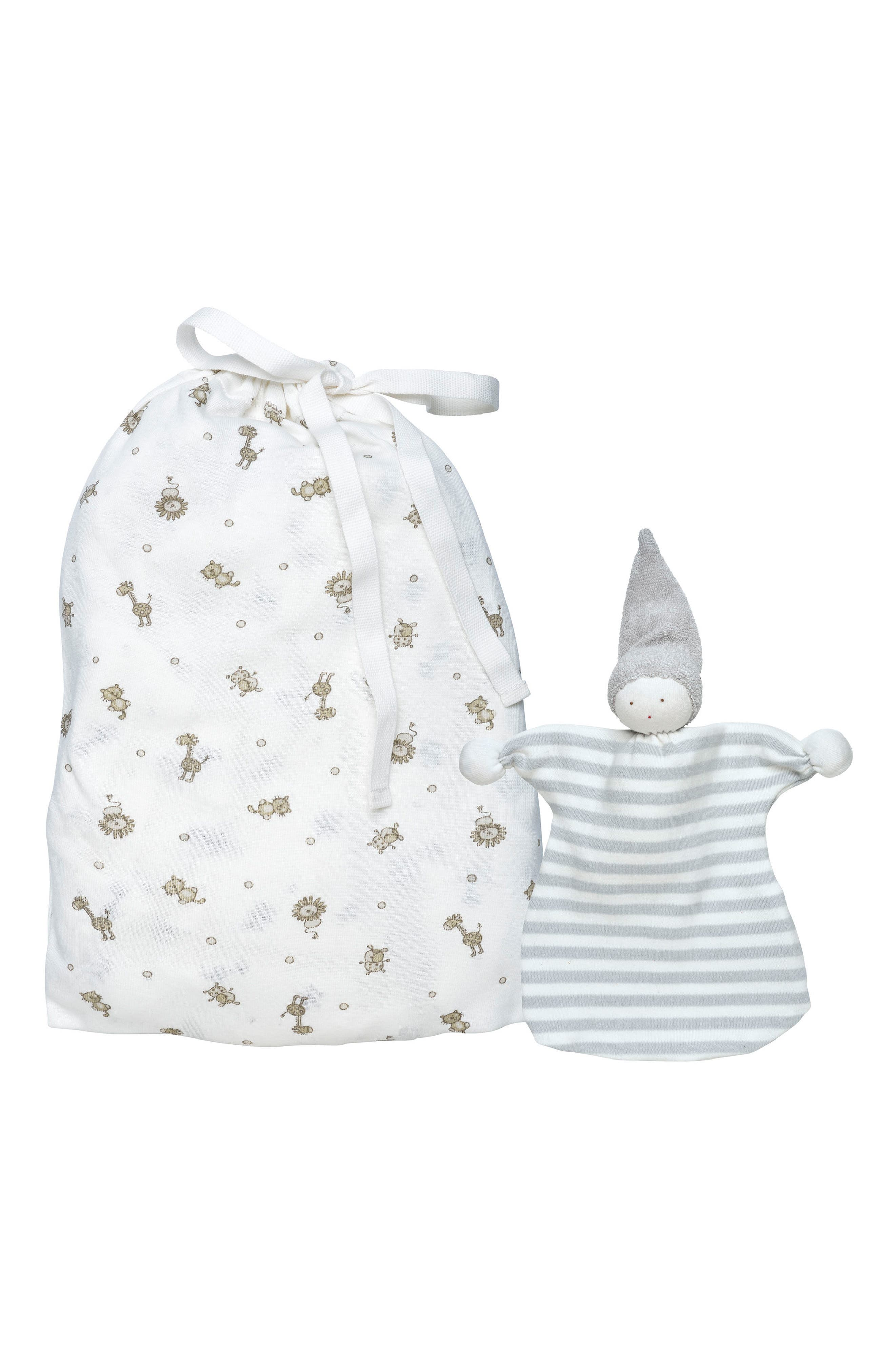 2-Piece Safari Print Fitted Crib Sheet & Stuffed Elephant Toy Set,                             Main thumbnail 1, color,                             White