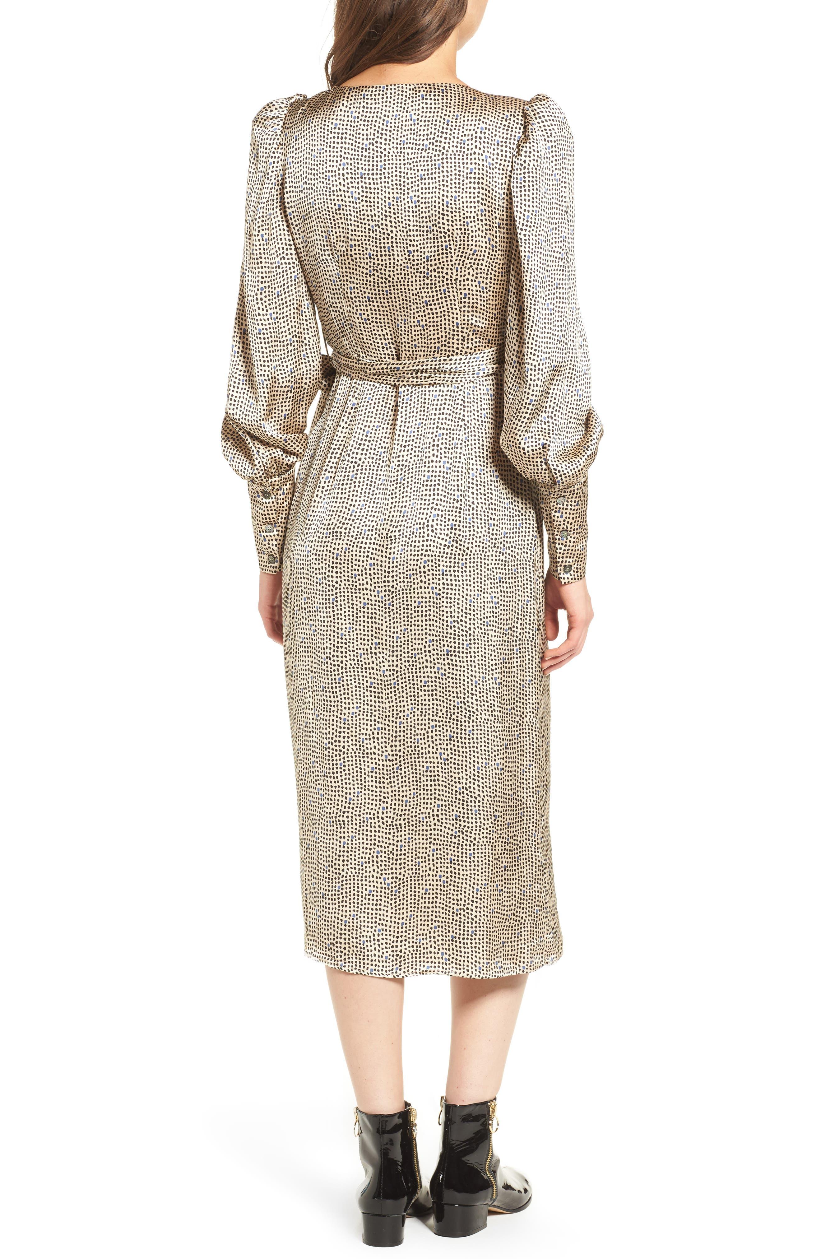 Mini Spot Wrap Dress,                             Alternate thumbnail 5, color,                             Beige Multi