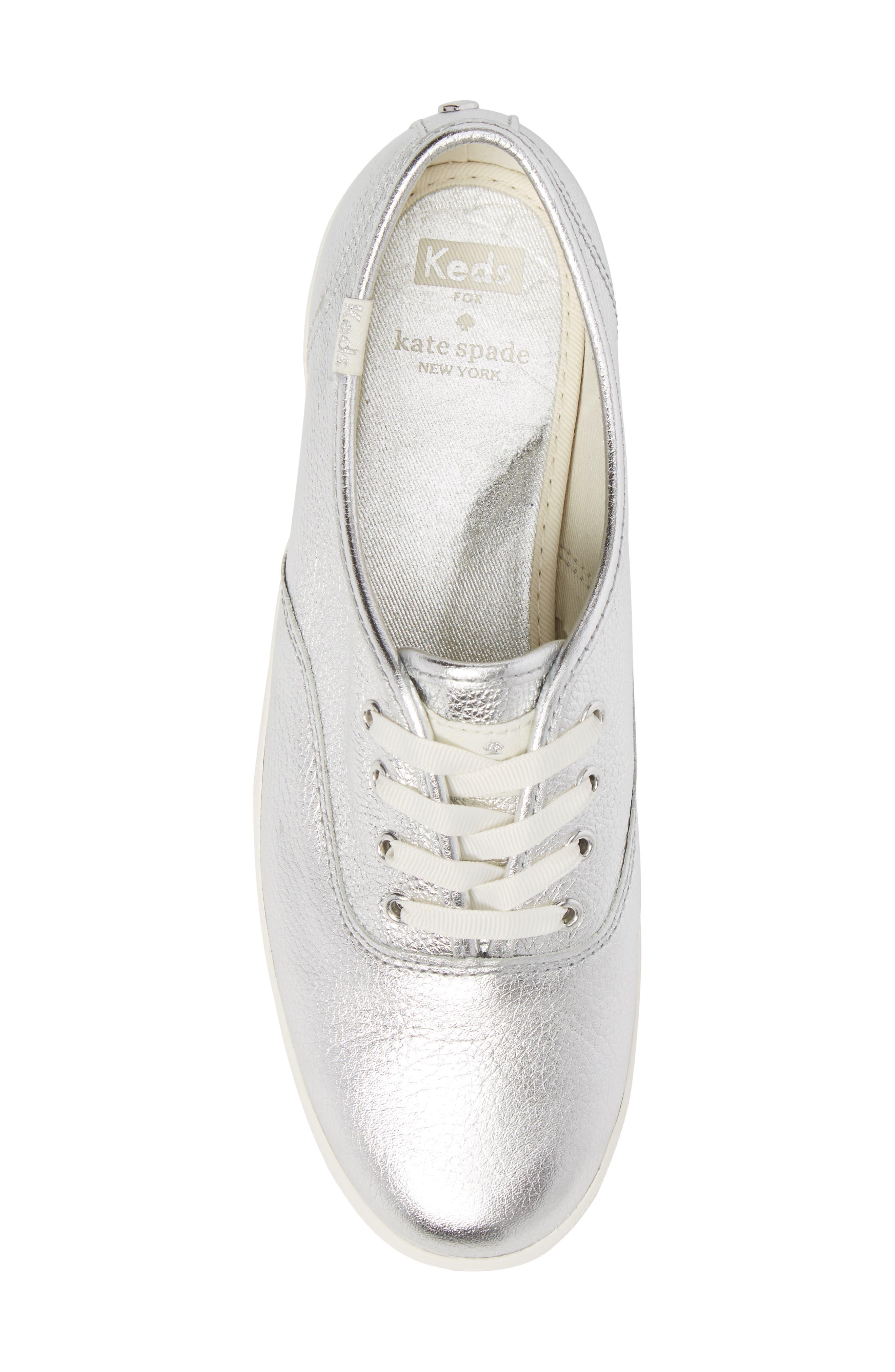 metallic sneaker,                             Alternate thumbnail 5, color,                             Silver Leather