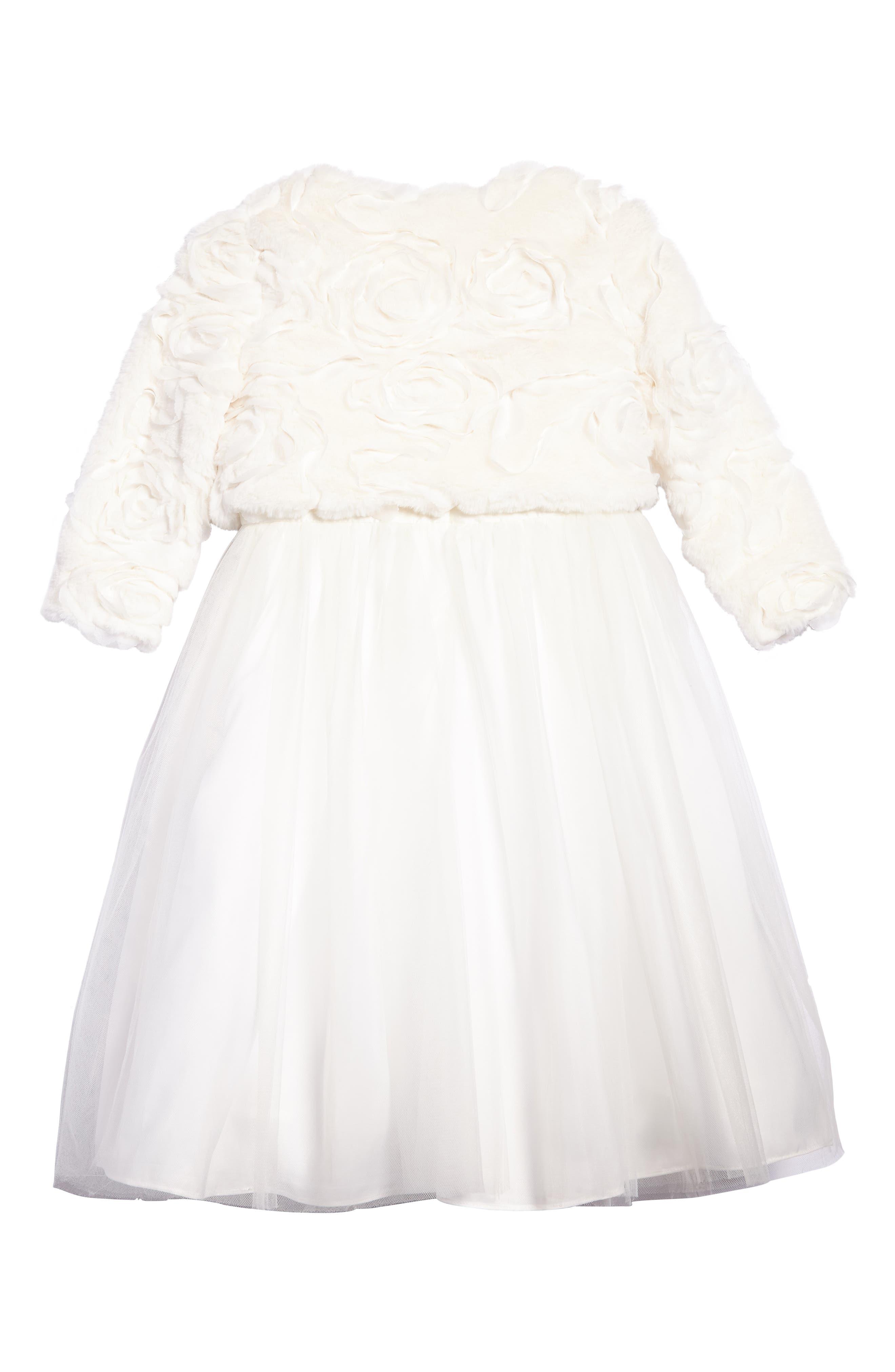 Faux Fur Jacket & Dress Set,                             Alternate thumbnail 2, color,                             Off White