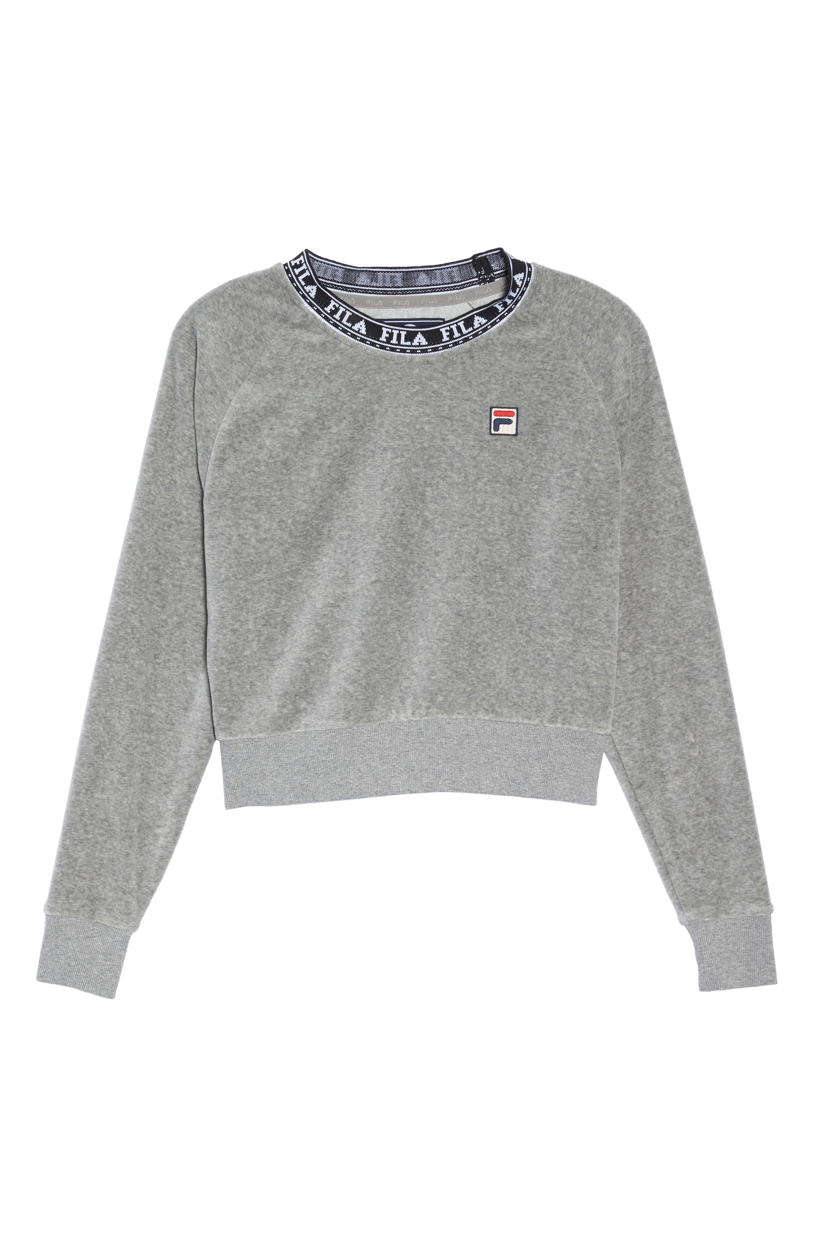 Dina Velour Crop Sweatshirt,                             Alternate thumbnail 7, color,                             Grey Heather/ Black/ White
