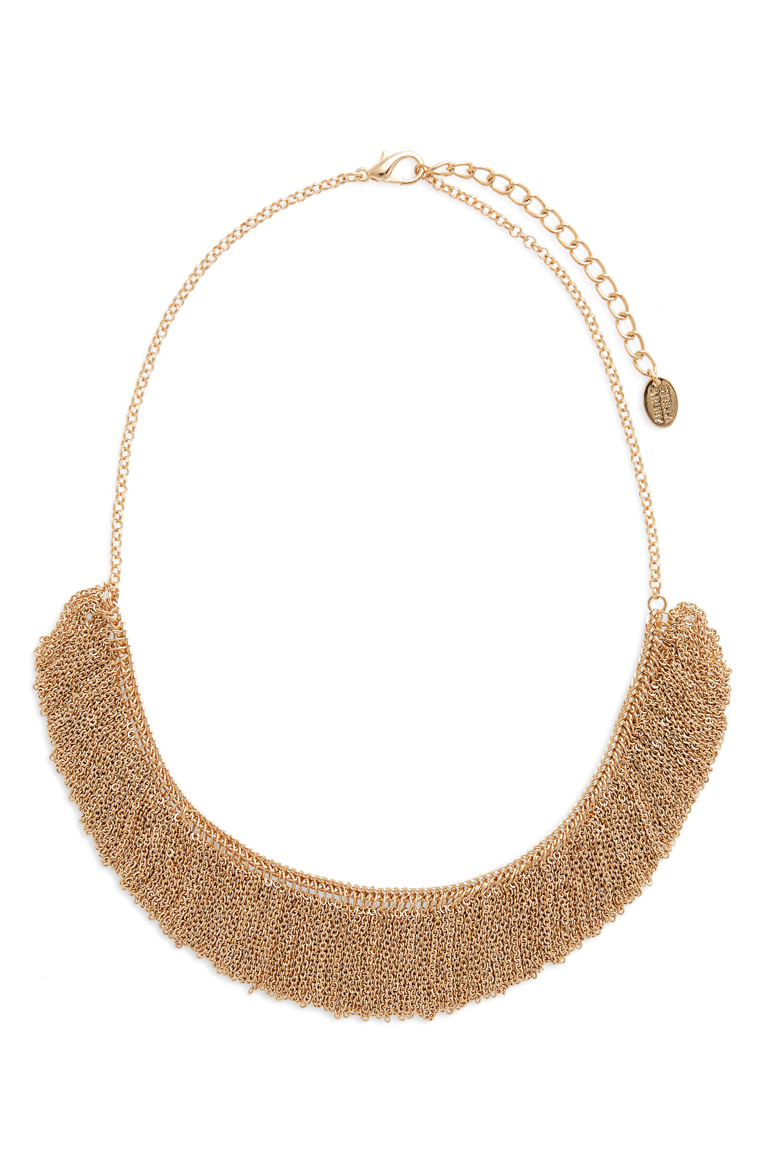 Chain Fringe Necklace,                         Main,                         color, Gold