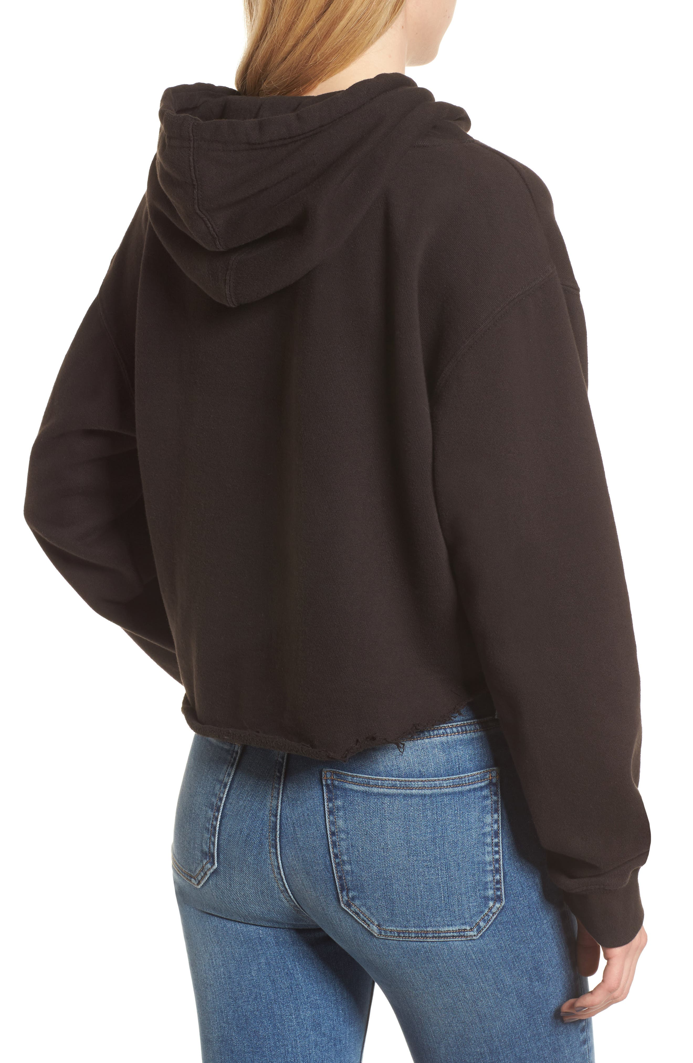 x Donald Robertson Stripe Dresses High/Low Hoodie,                             Alternate thumbnail 2, color,                             Black