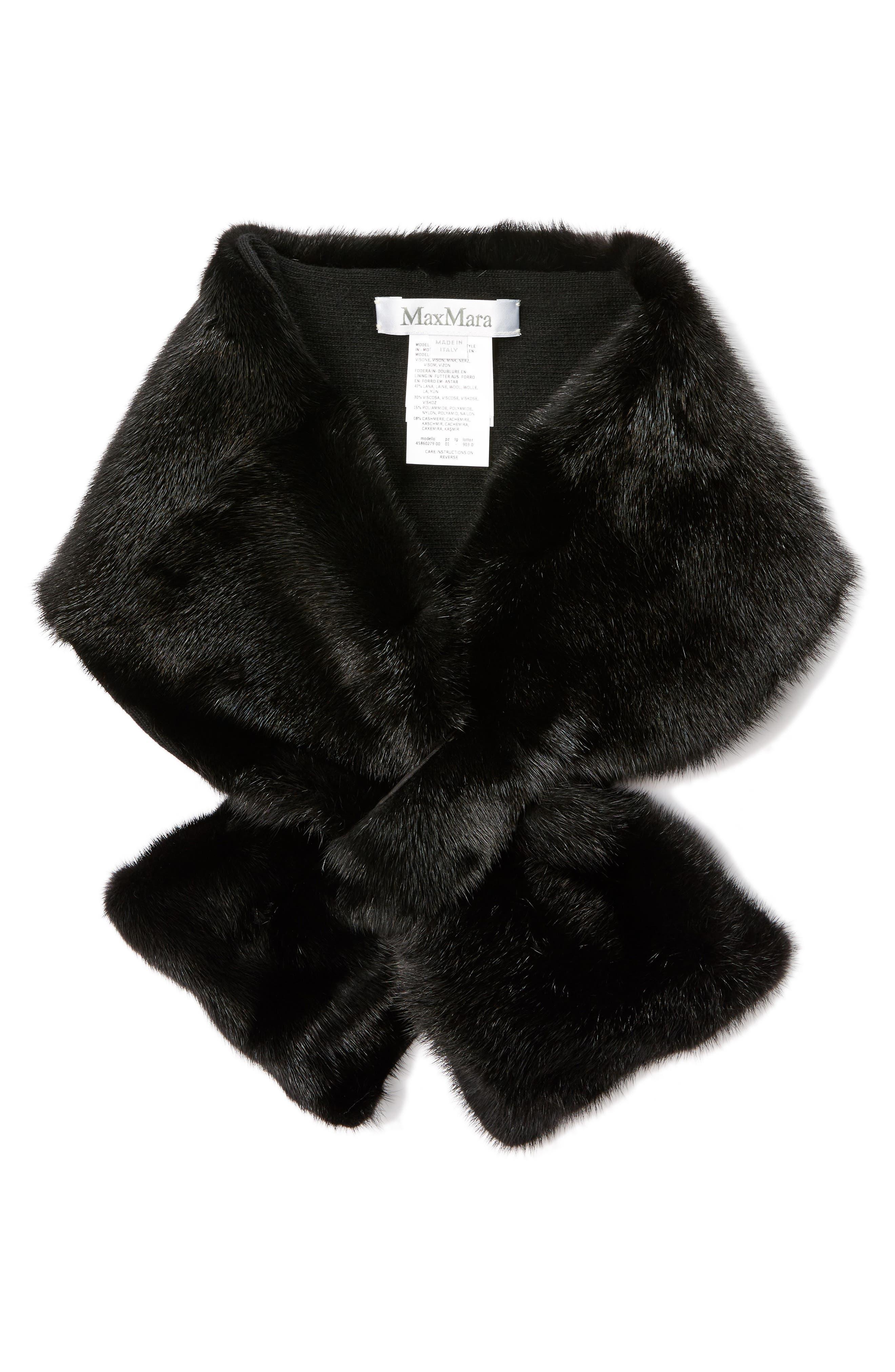 Genuine Mink Fur Collar,                             Alternate thumbnail 3, color,                             Beige