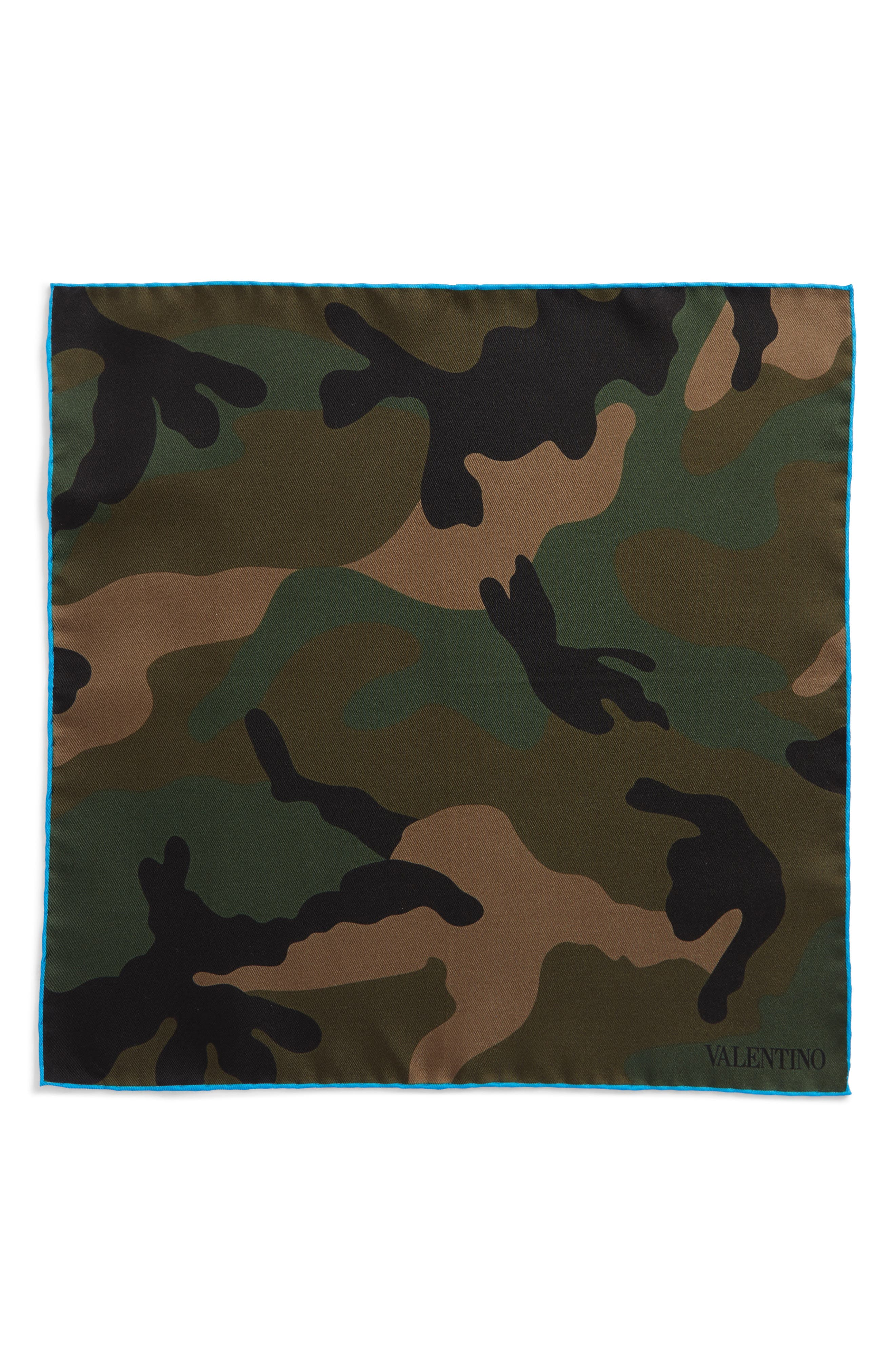 Camo Silk Pocket Square,                             Alternate thumbnail 2, color,                             Royal Blue Camo