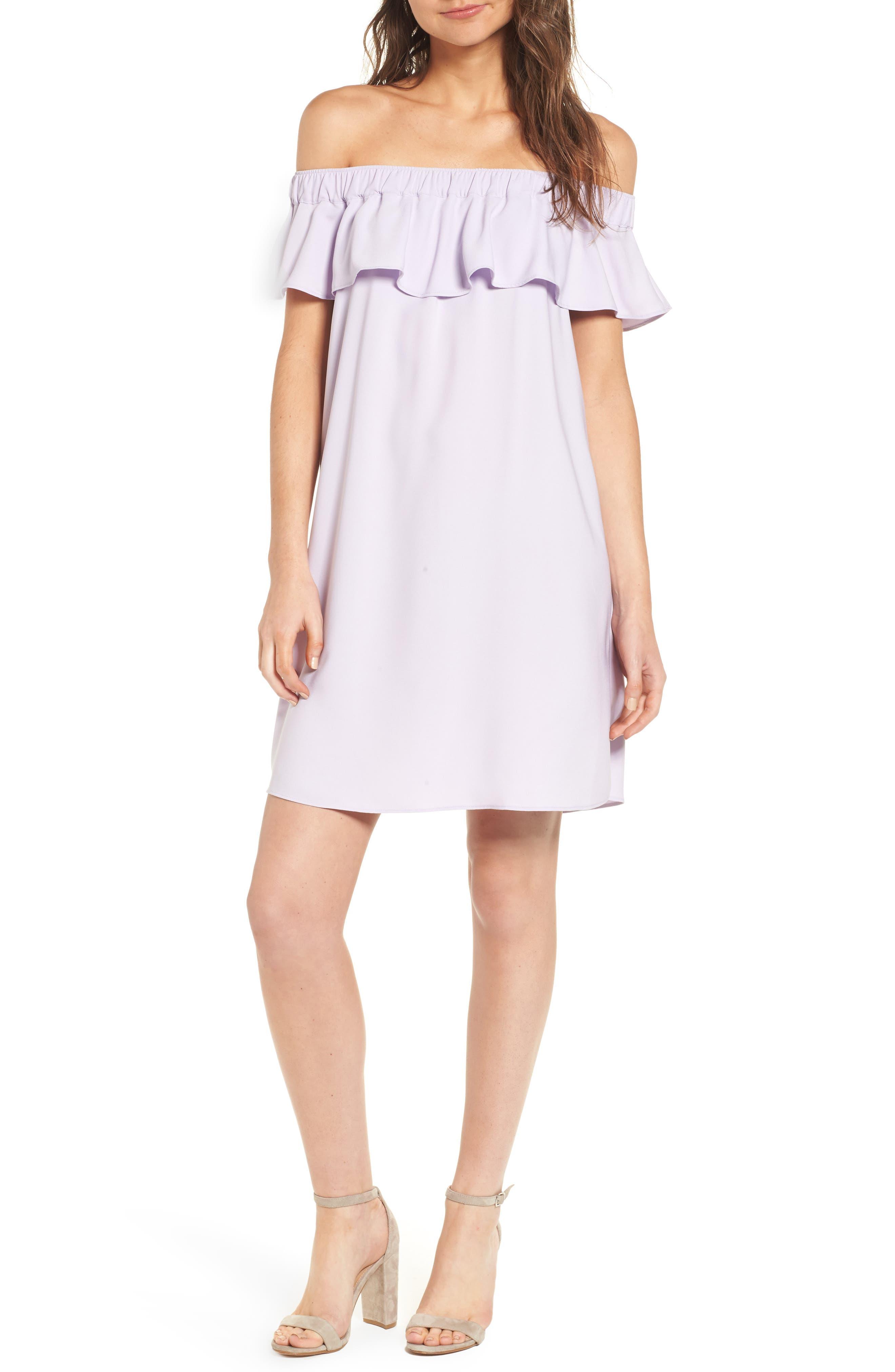 Off the Shoulder Crepe Dress,                         Main,                         color, Purple Petal