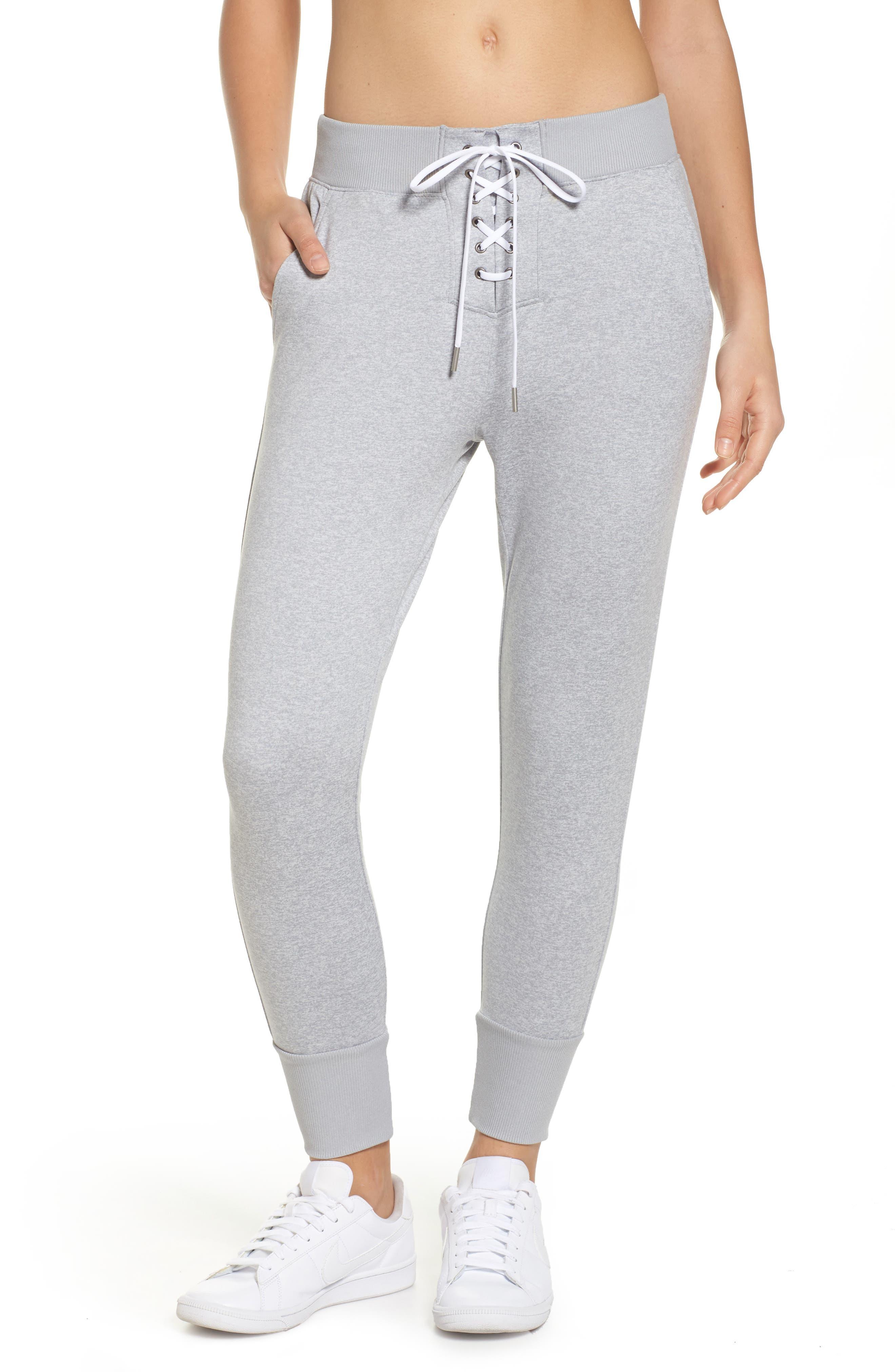 Lace & Repeat Crop Pants,                         Main,                         color, Grey Wolf Melange