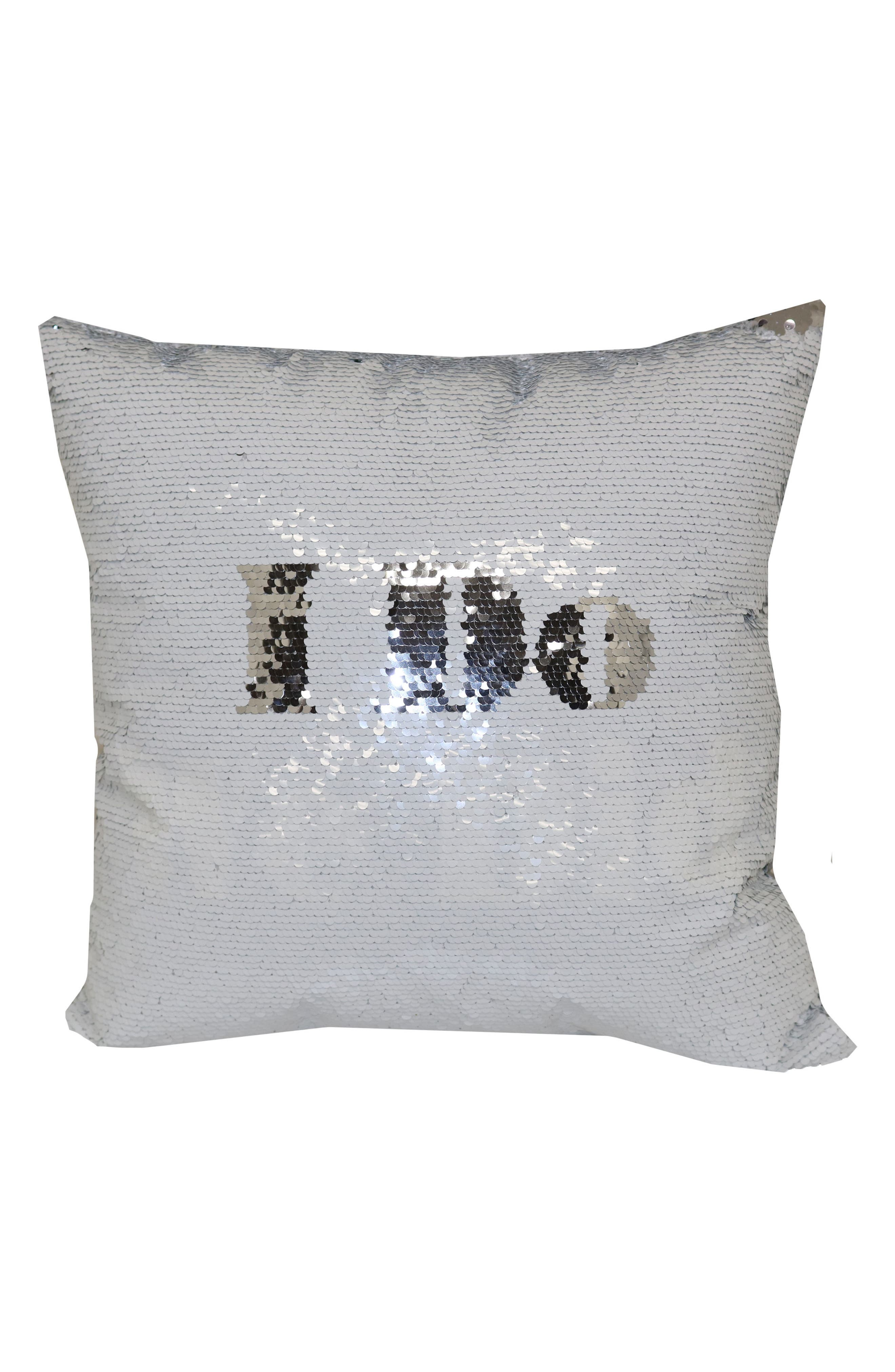 I Do/We Did Flip Sequin Pillow,                             Main thumbnail 1, color,                             White/ Silver