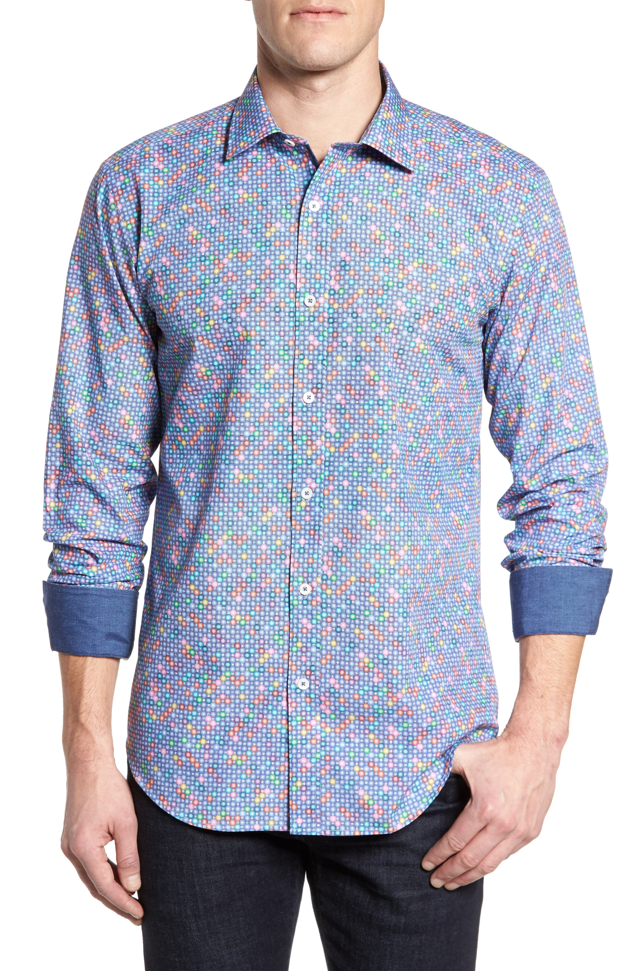 Shaped Fit Print Sport Shirt,                             Main thumbnail 1, color,                             Orchid