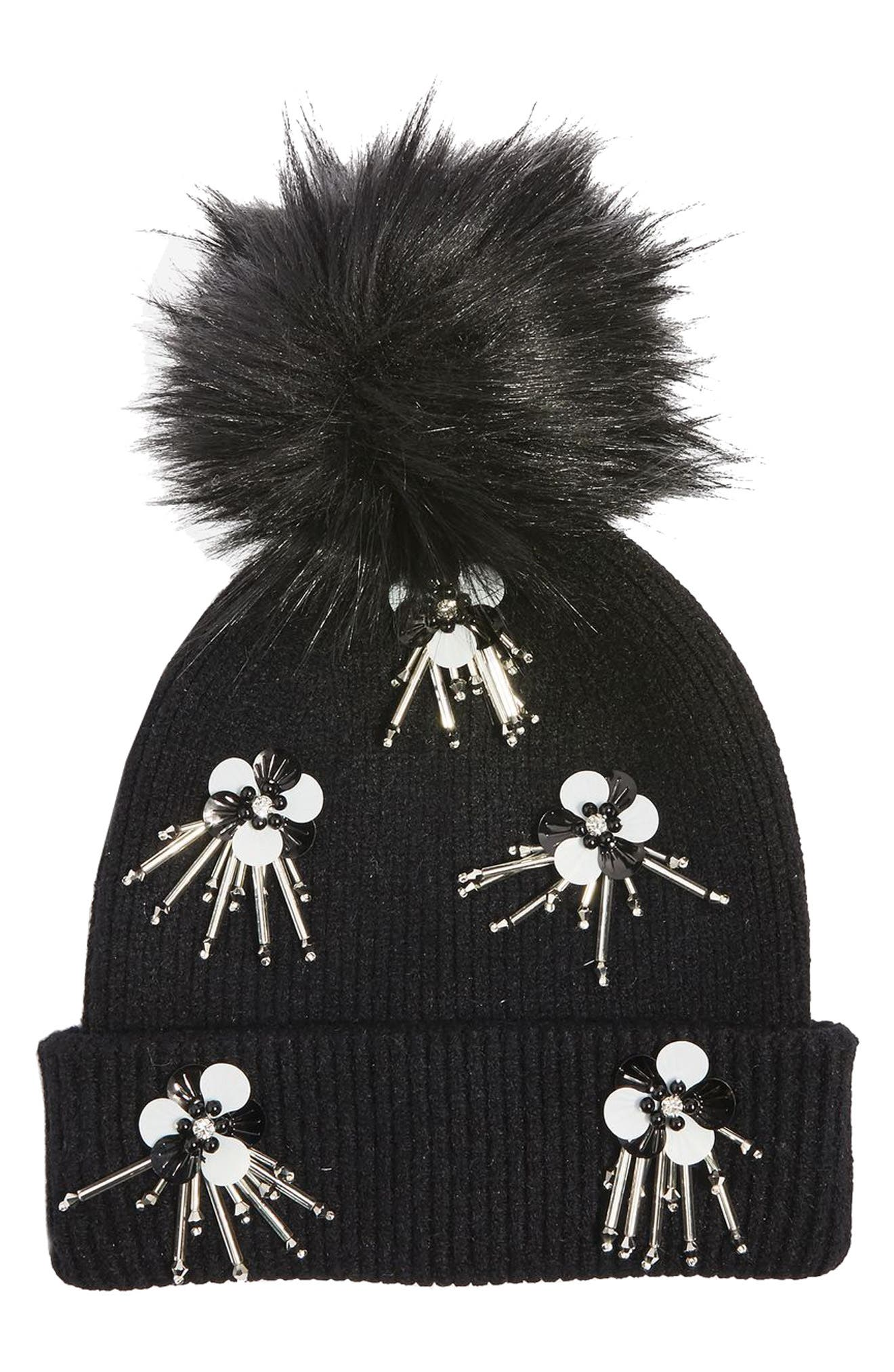 Alternate Image 1 Selected - Topshop Flower Burst Embellished Beanie