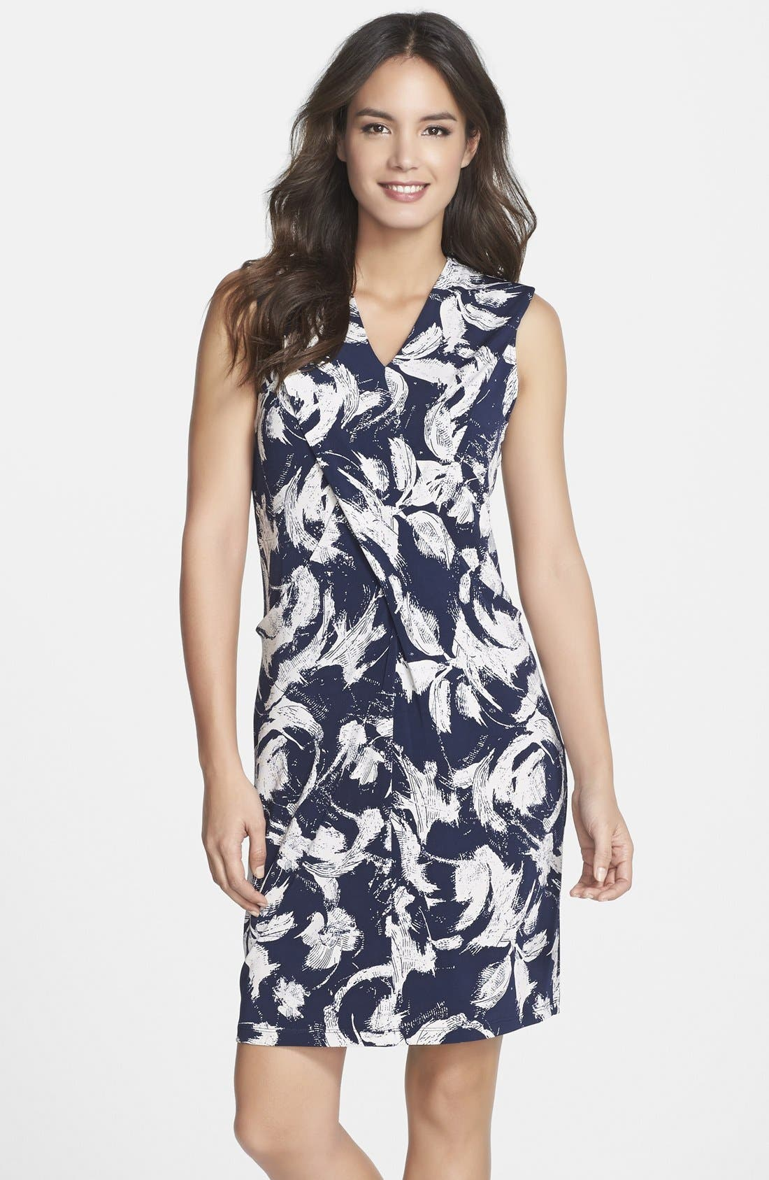 Main Image - Marc New York by Andrew Marc Pleat Detail Floral Print Shift Dress