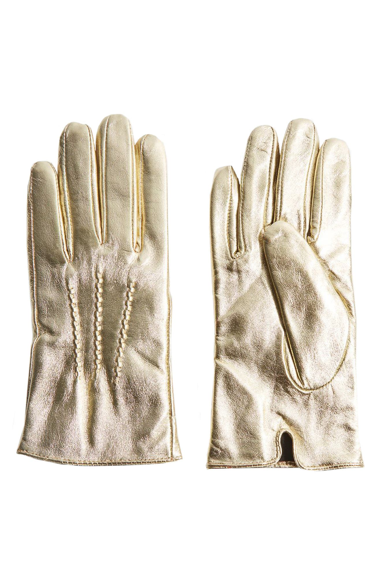 Metallic Leather Gloves,                         Main,                         color, Gold
