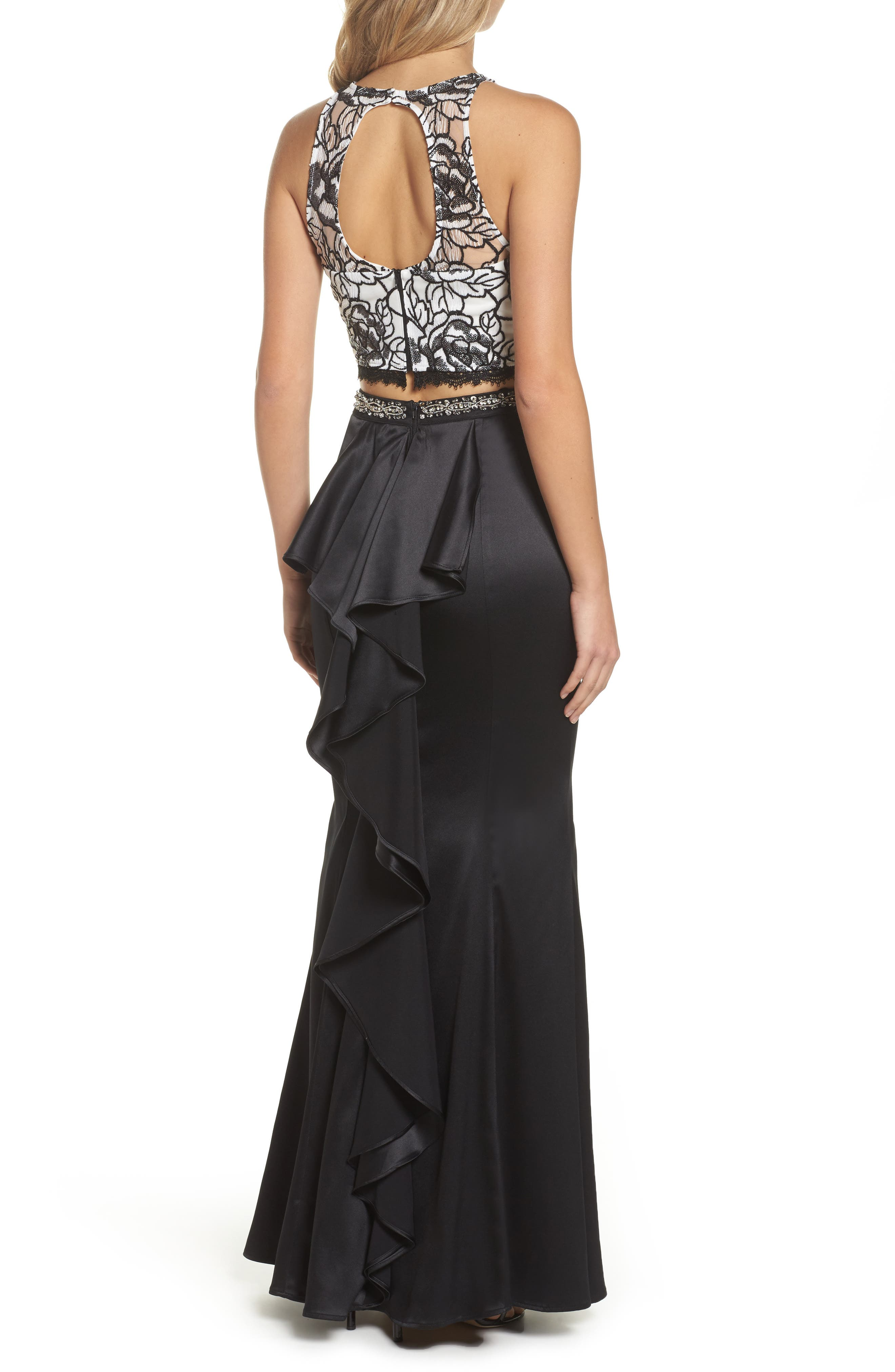 Sequined Lace Two-Piece Gown,                             Alternate thumbnail 2, color,                             Black/ Ivory