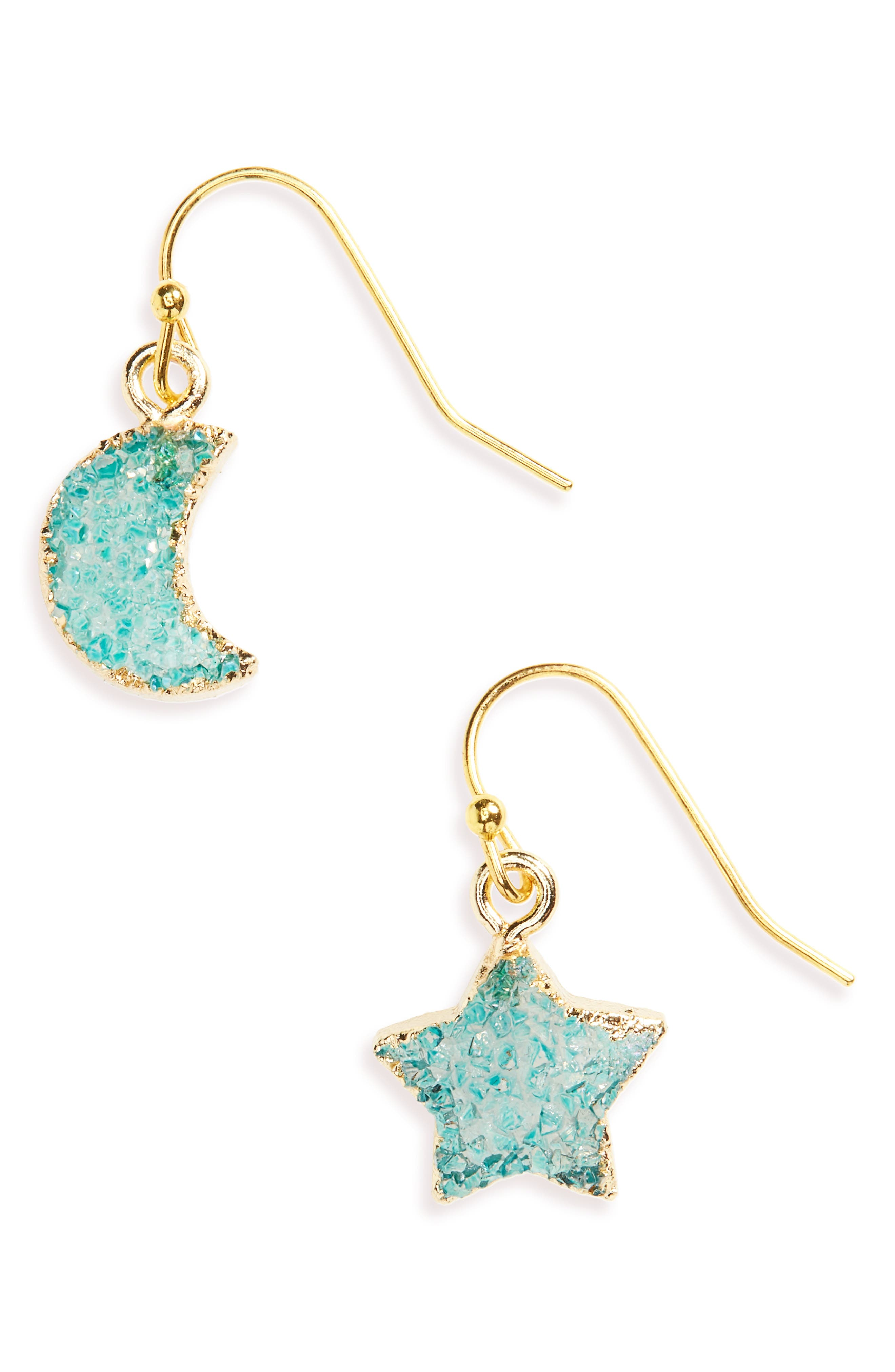 Moon & Star Drusy Stone Earrings,                             Main thumbnail 1, color,                             Navy