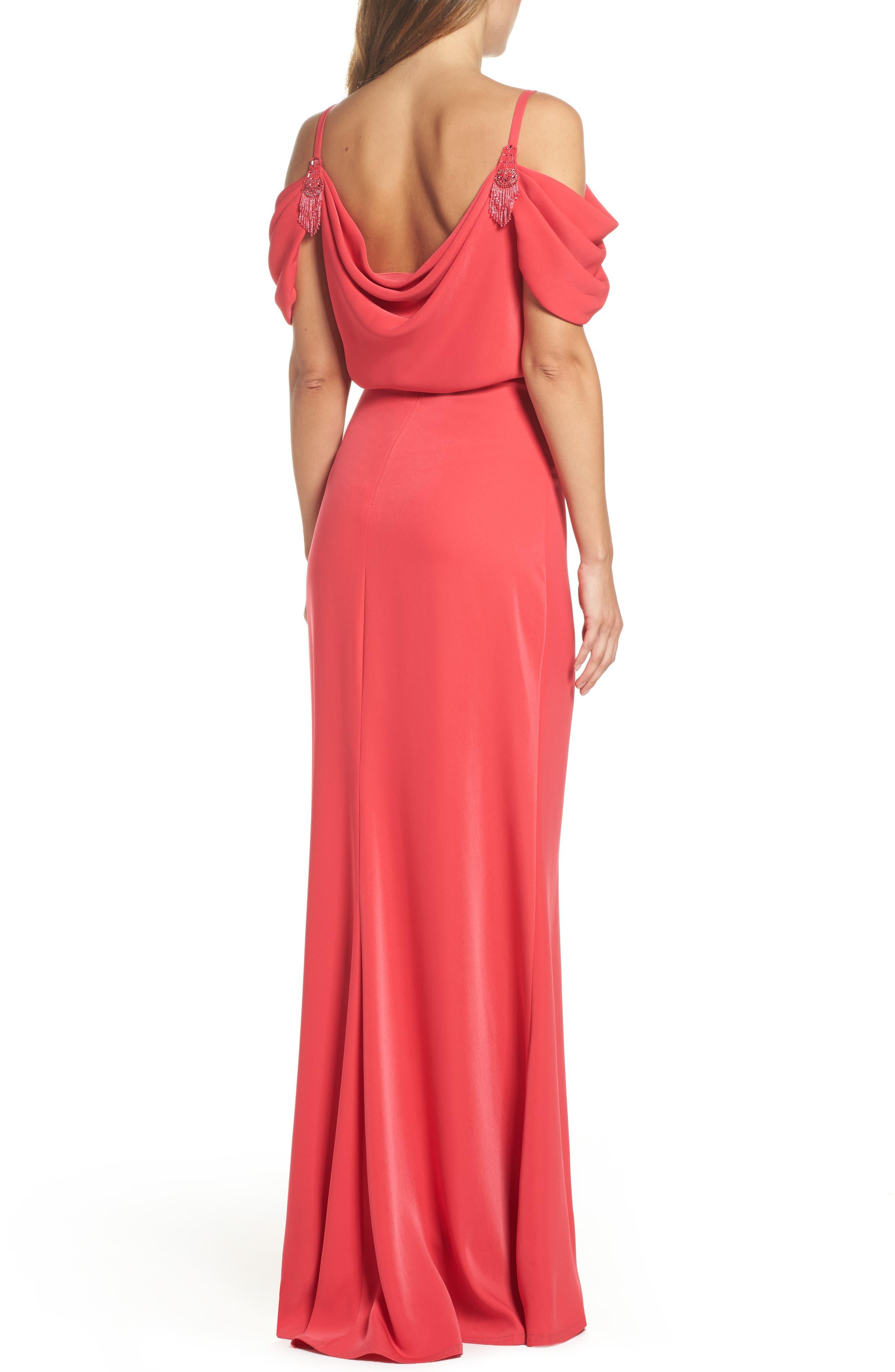 Embellished Cold Shoulder Crepe Gown,                             Alternate thumbnail 2, color,                             Pop Red