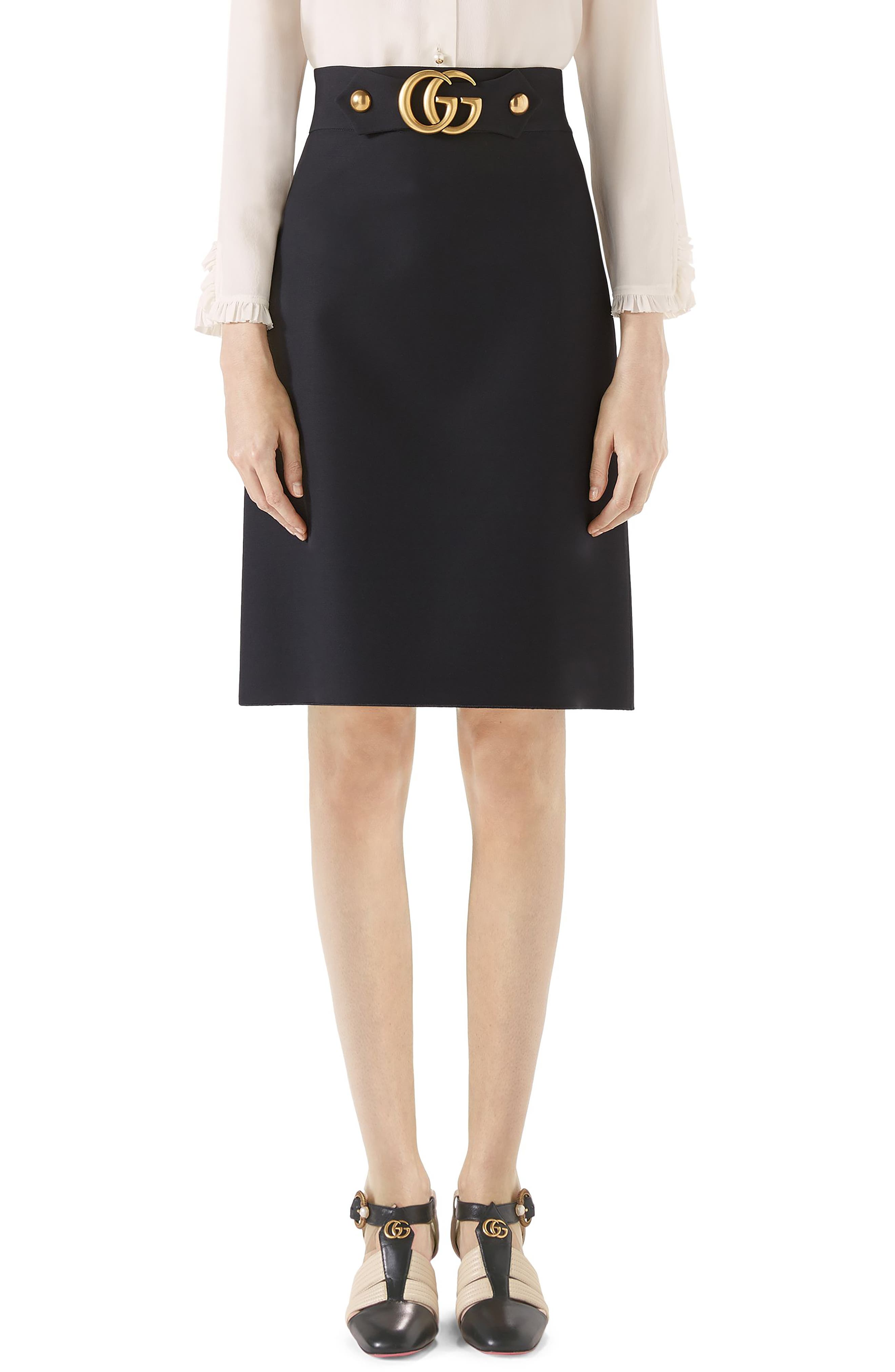 Marmont Wool & Silk Cady Crepe A-Line Skirt,                             Main thumbnail 1, color,                             Black