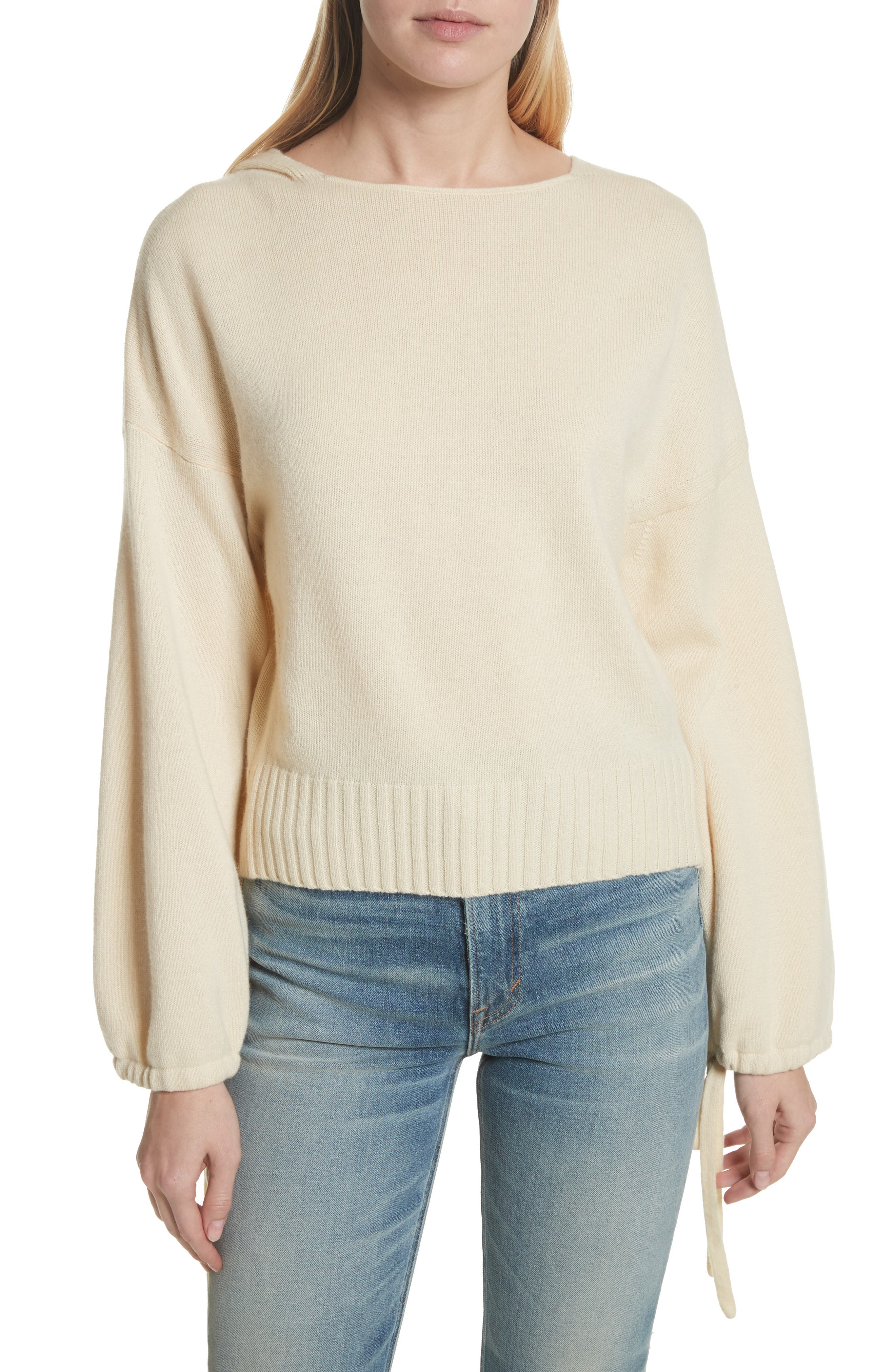 Scrunch Sleeve Wool & Cashmere Hoodie,                         Main,                         color, Buttercream