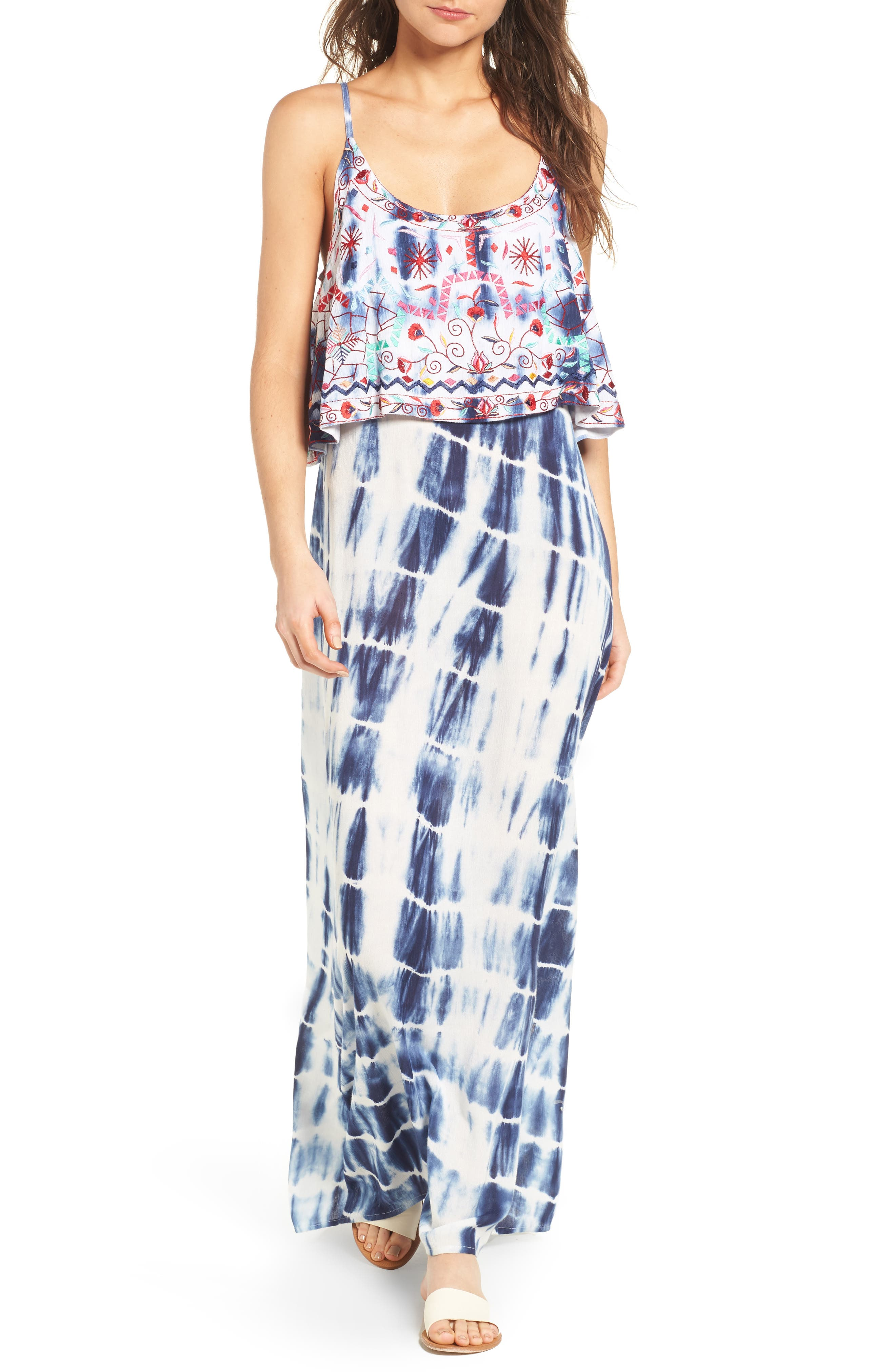 Catching The Waves Embroidered Maxi Dress,                         Main,                         color, Multi