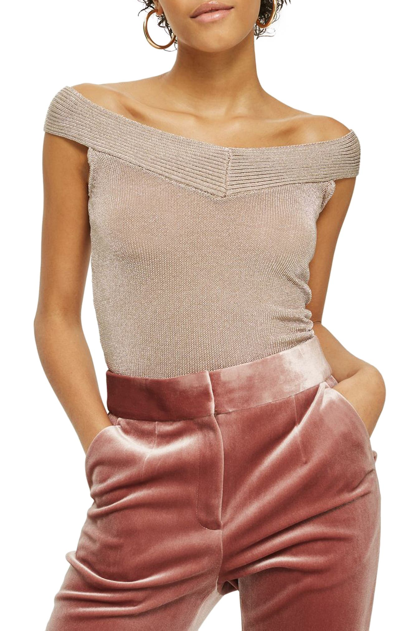 Metallic Off the Shoulder Knit Top,                             Main thumbnail 1, color,                             Mink