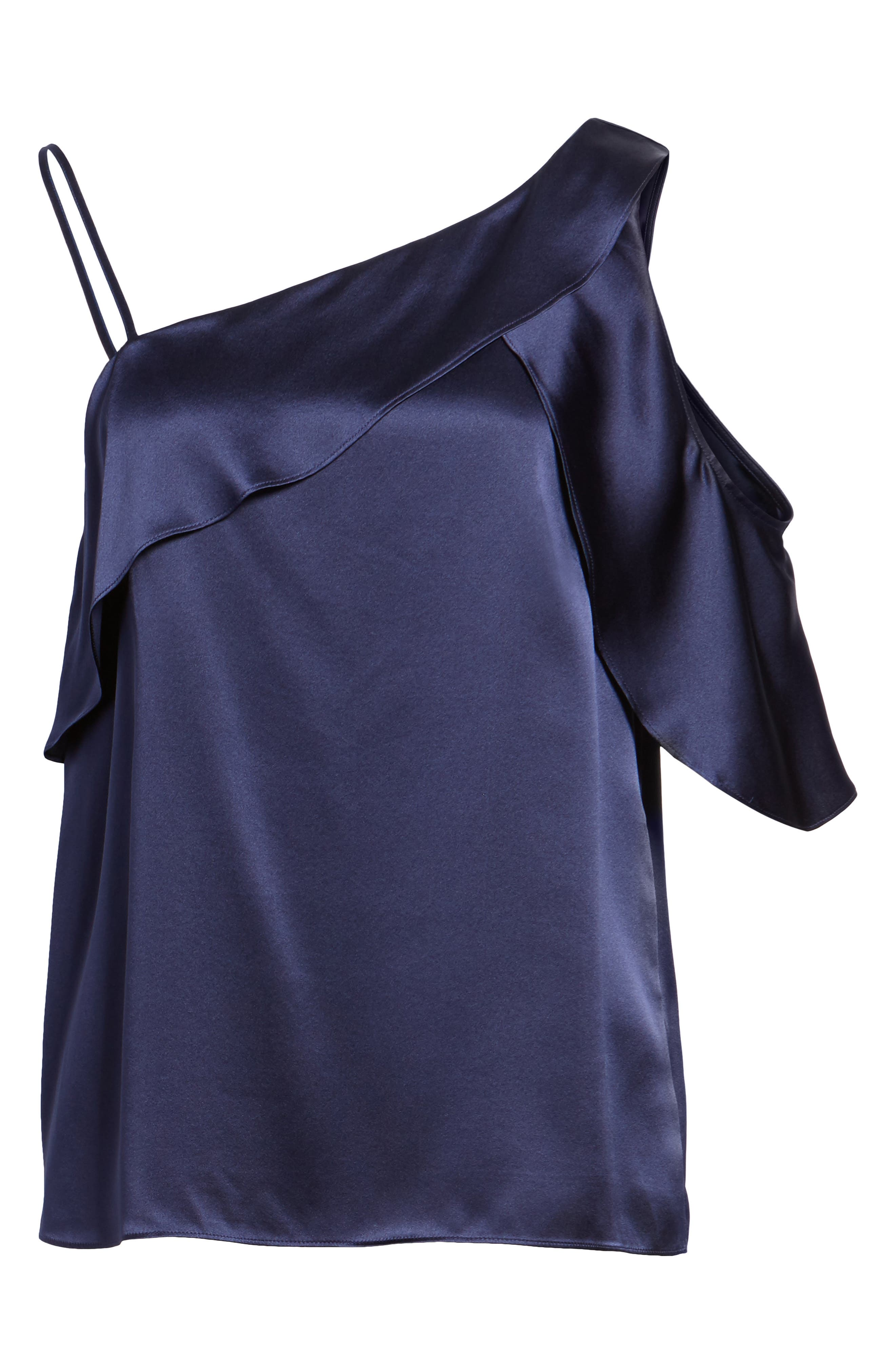Connie Cold Shoulder Silk Top,                             Alternate thumbnail 6, color,                             Night