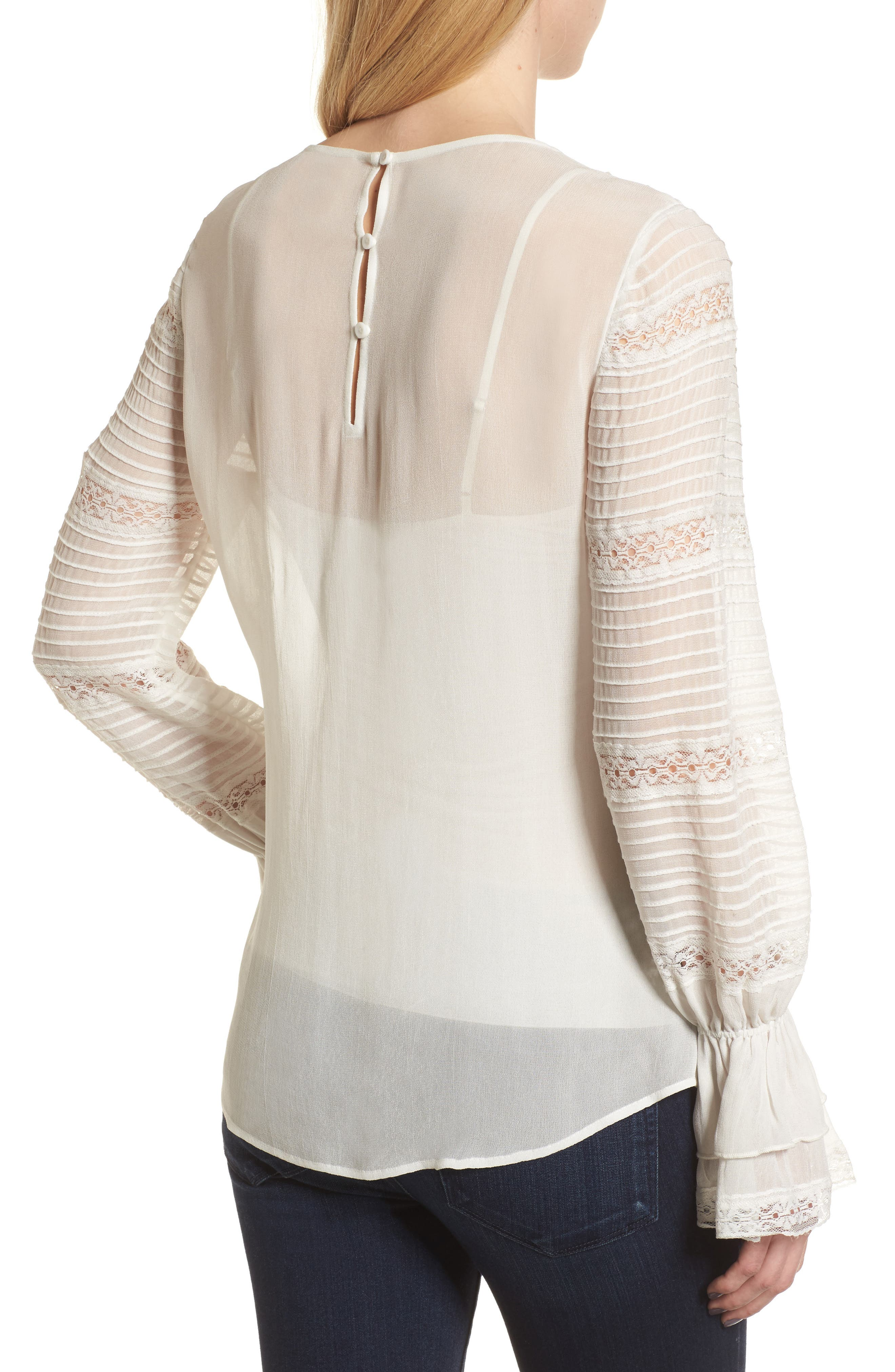 Pintuck & Lace Top,                             Alternate thumbnail 2, color,                             Ivory Cloud