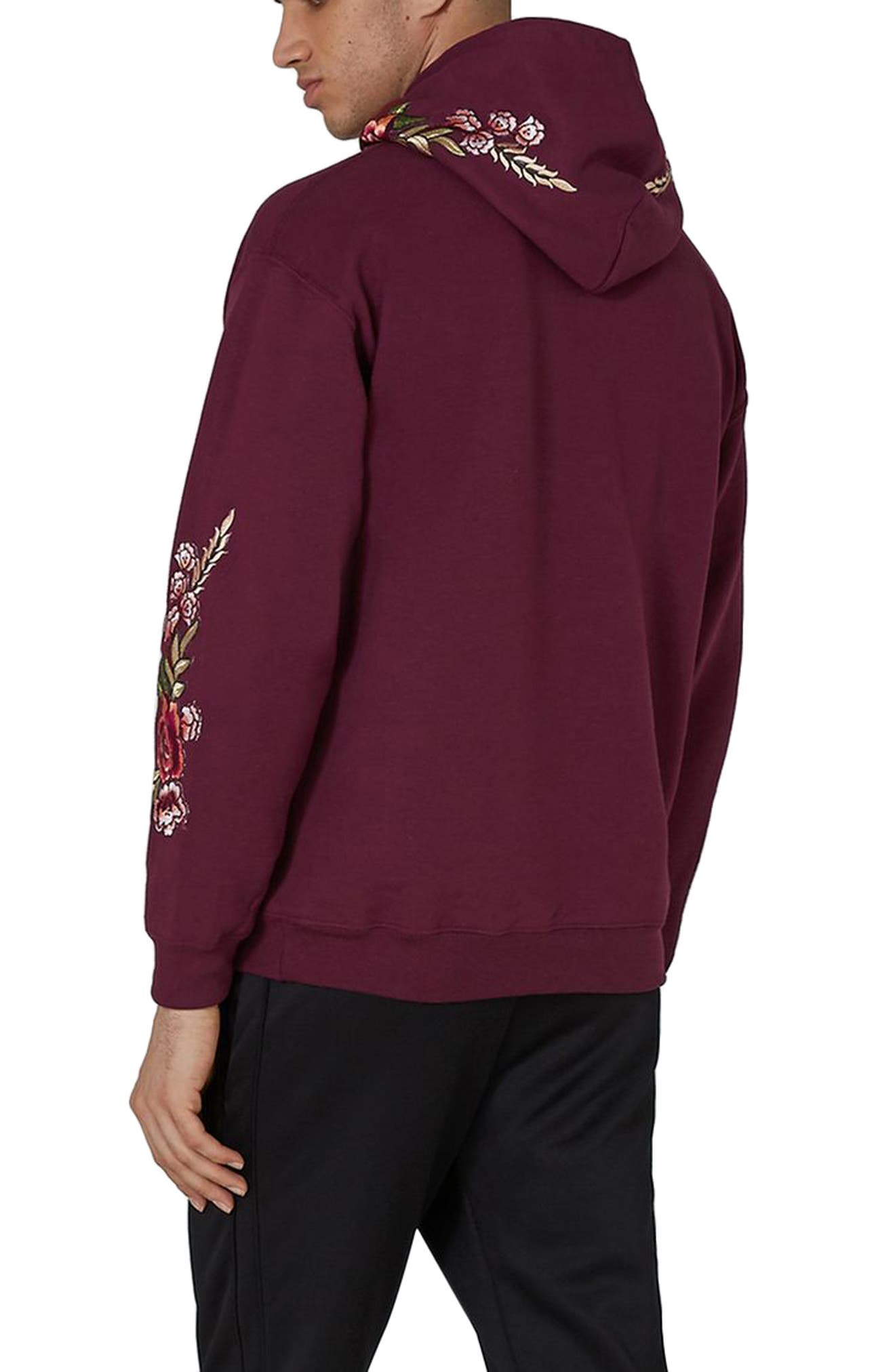 Rose Embroidered Hoodie,                             Alternate thumbnail 2, color,                             Burgundy Multi