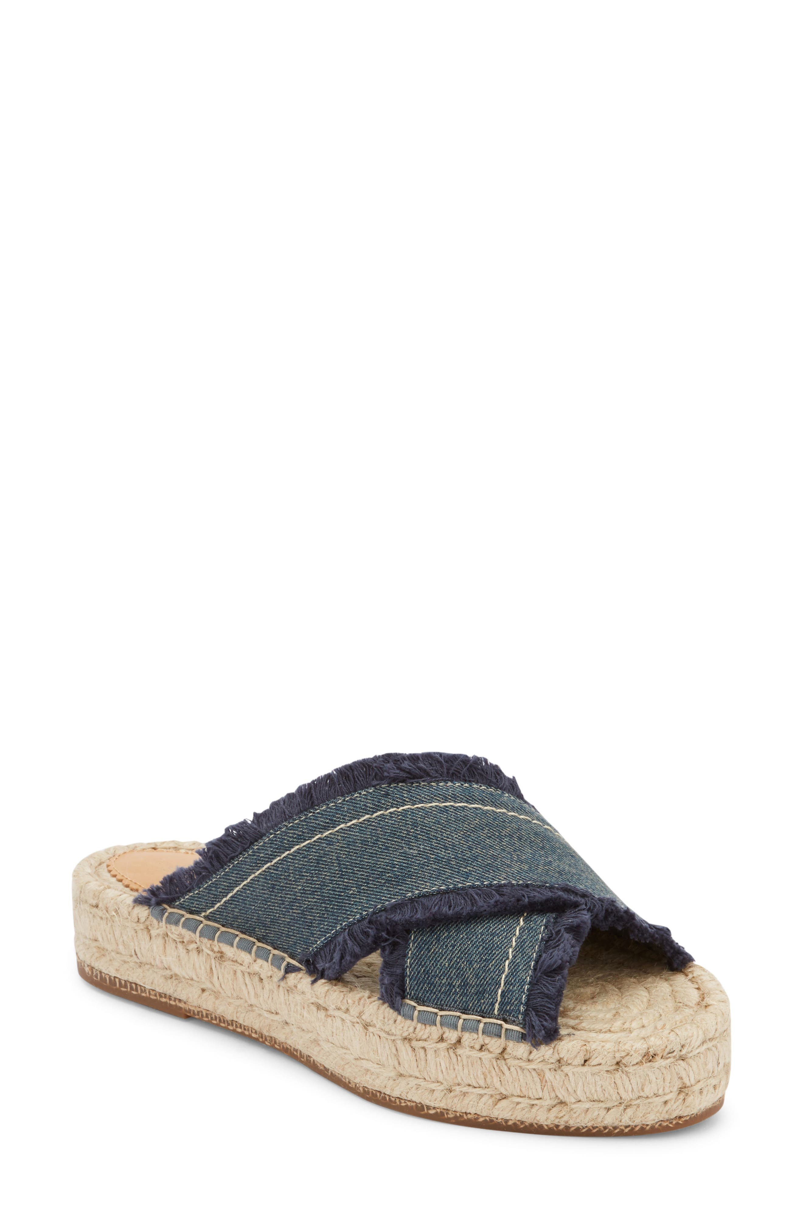 G.H. BASS & CO. Anabelle Espadrille Sandal in Dark Blue Denim Fabric