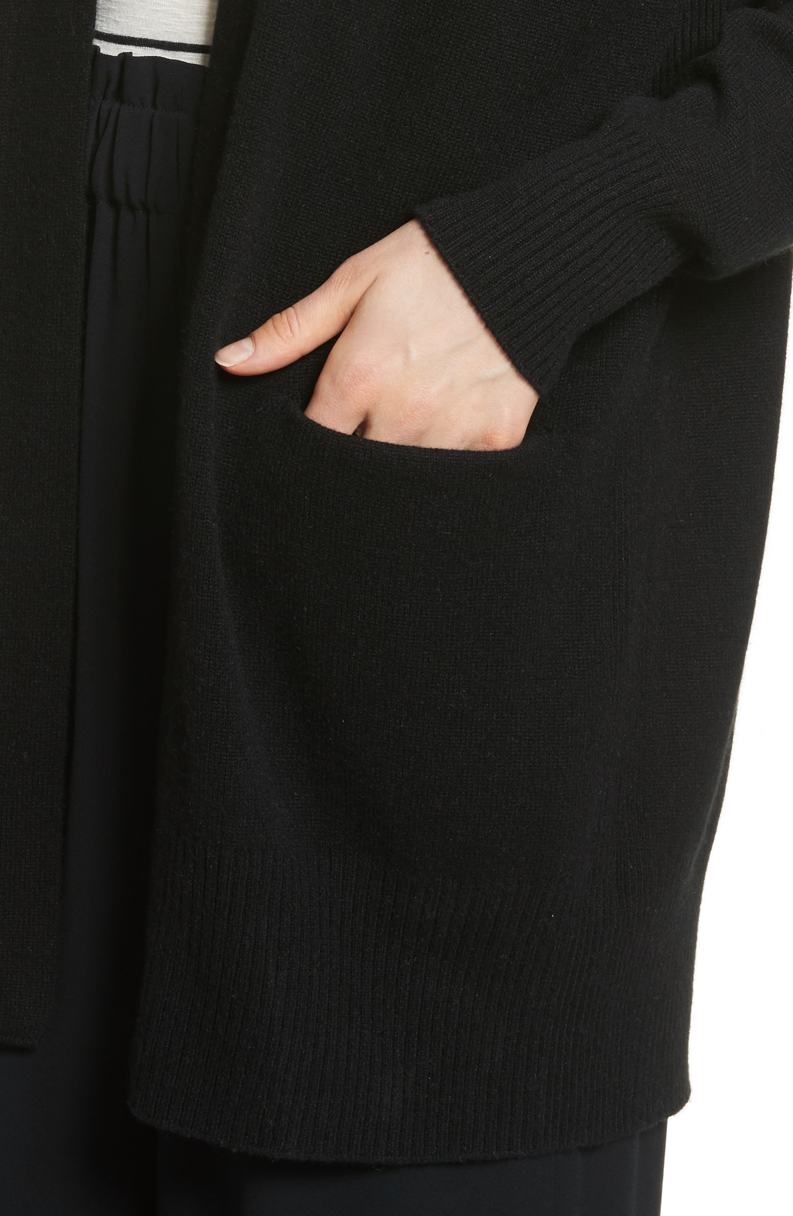 Open Front Cashmere Long Cardigan,                             Alternate thumbnail 4, color,                             Black