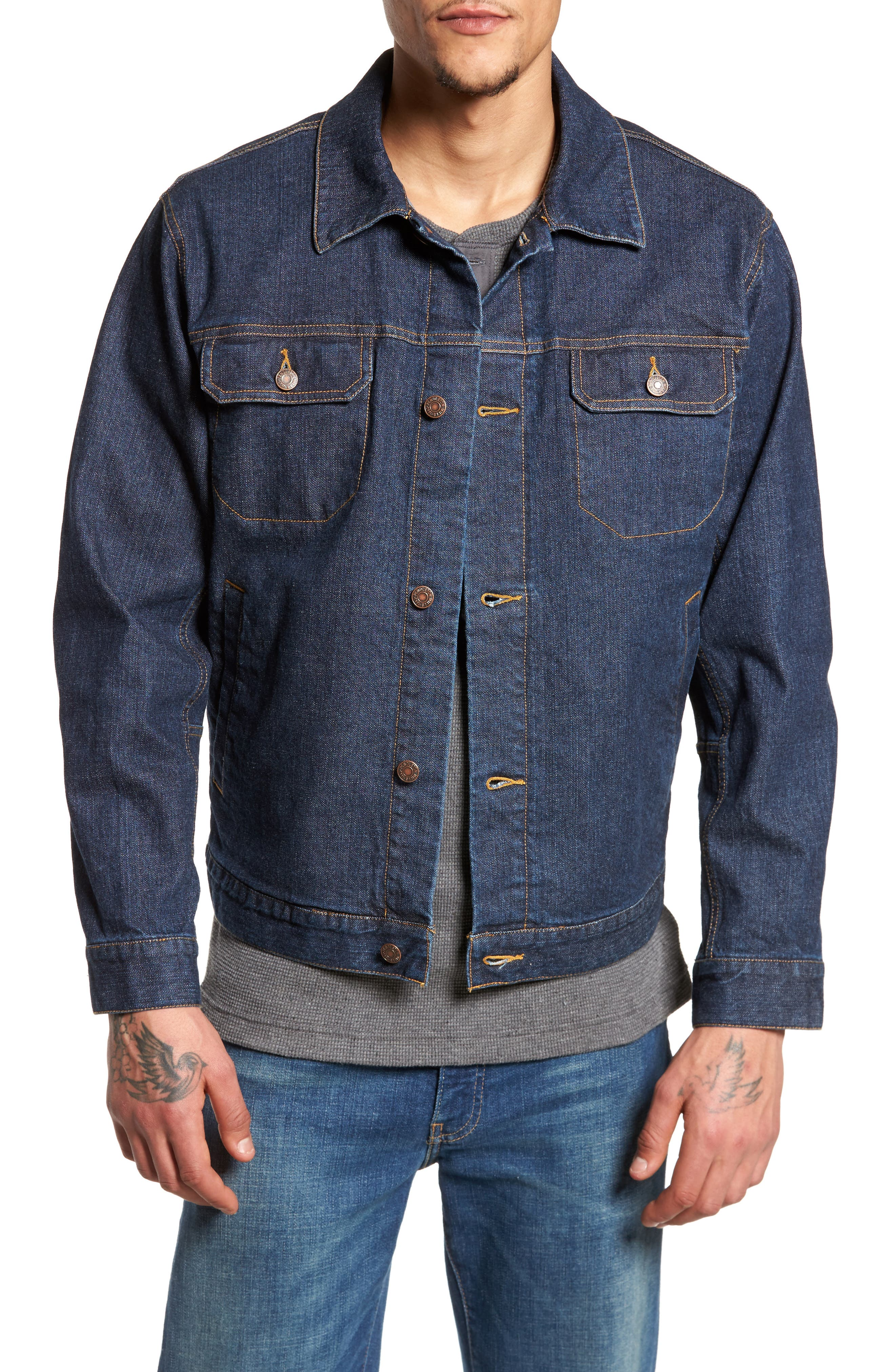 Denim Jacket with Removable Wool Vest,                         Main,                         color, Denim With Broken Arrow Red