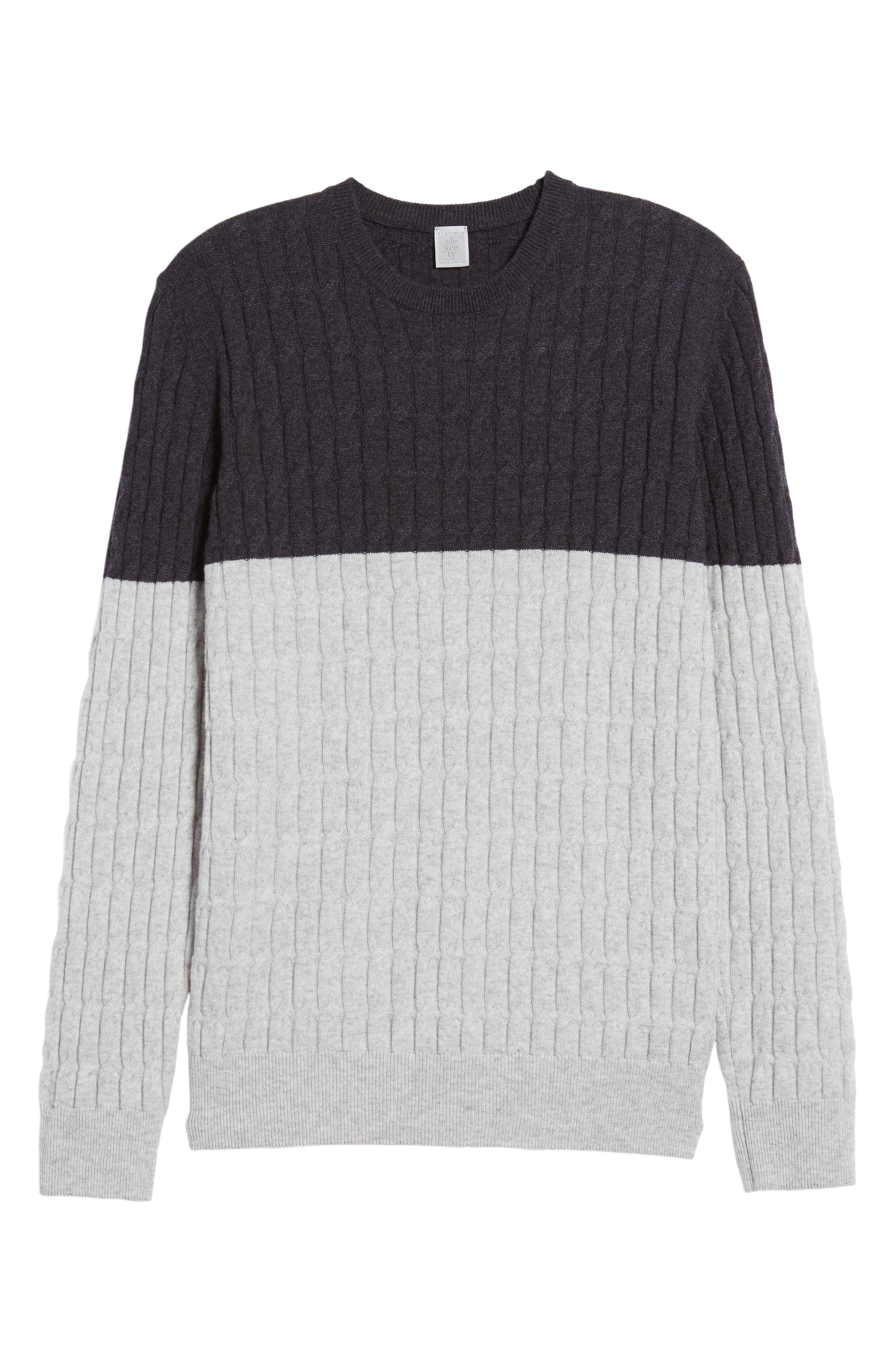 Alternate Image 6  - Eleventy Colorblock Cable Knit Cashmere Sweater