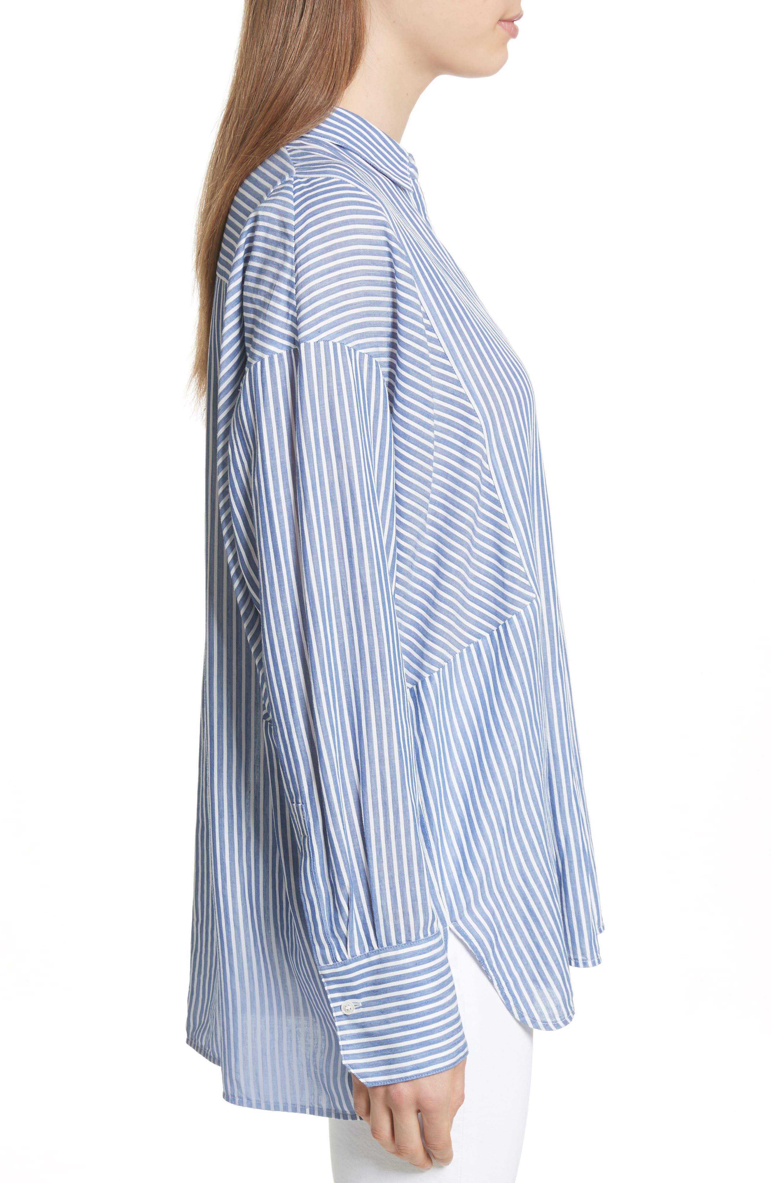 Classic Stripe Cotton Blend Tunic,                             Alternate thumbnail 3, color,                             White/ Blue