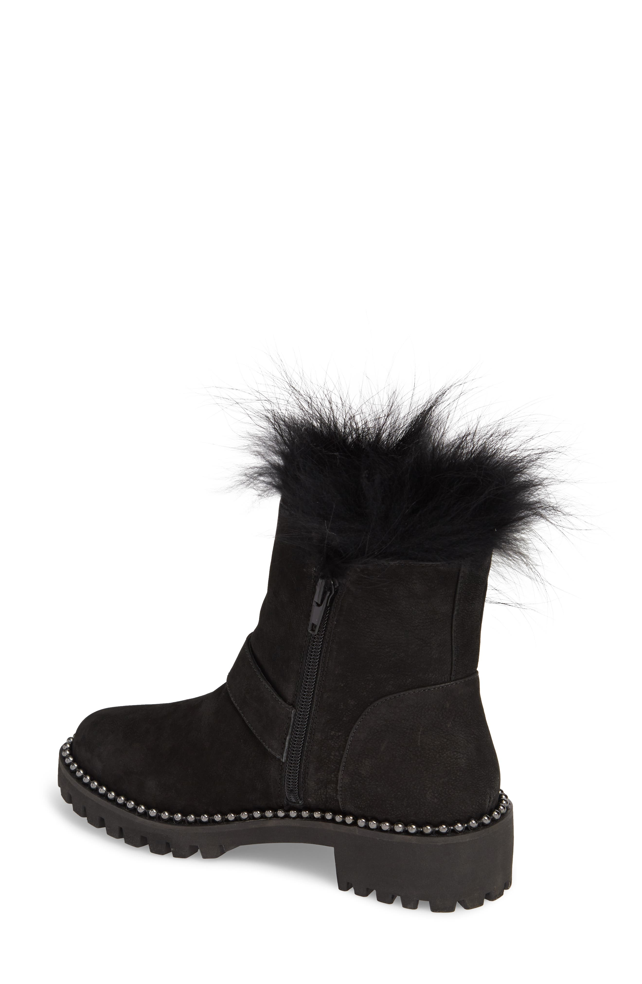 Theresa Boot with Genuine Fox Fur Trim,                             Alternate thumbnail 2, color,                             Black Suede