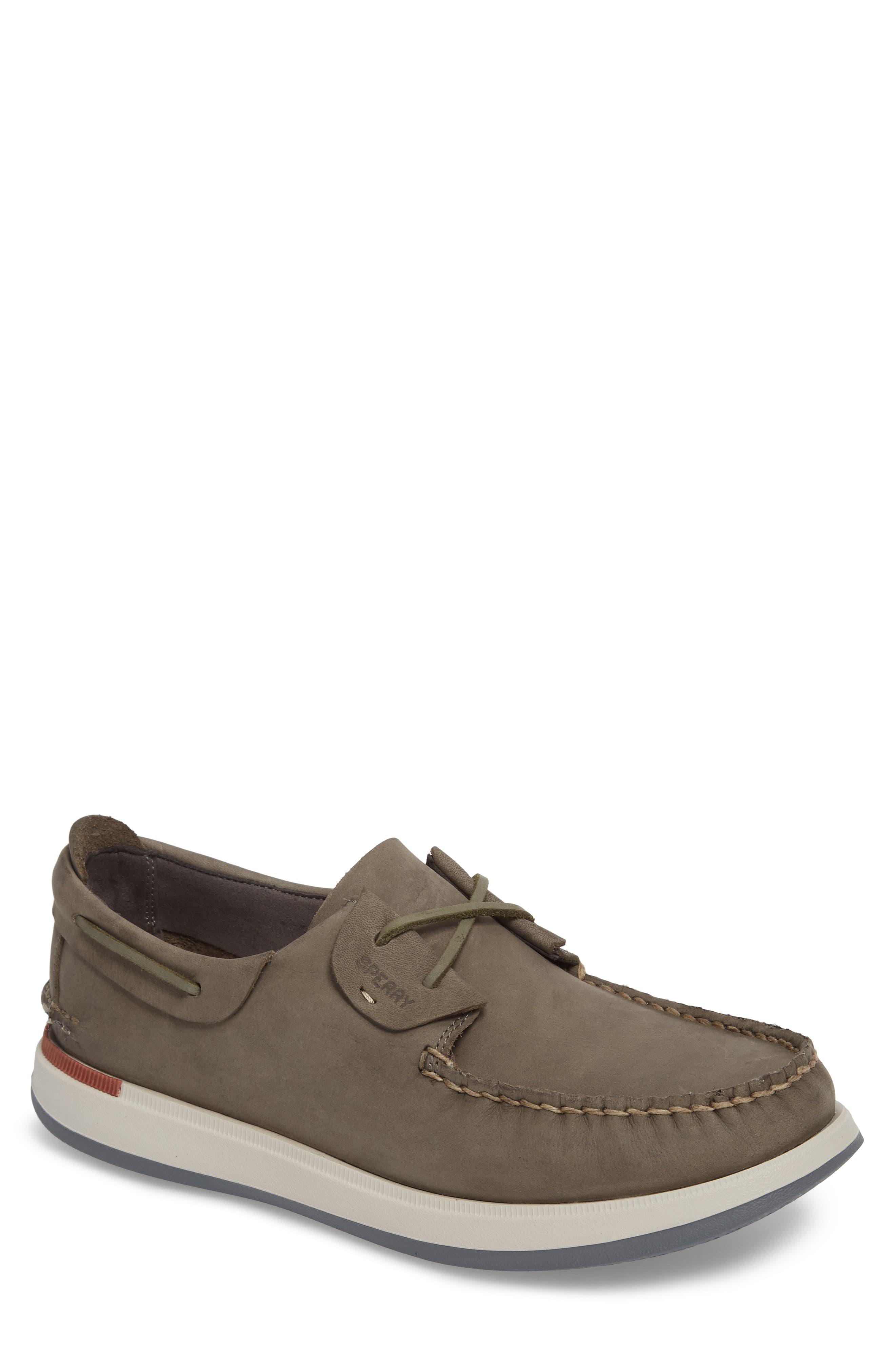Caspian Boat Shoe,                             Main thumbnail 1, color,                             Grey Leather