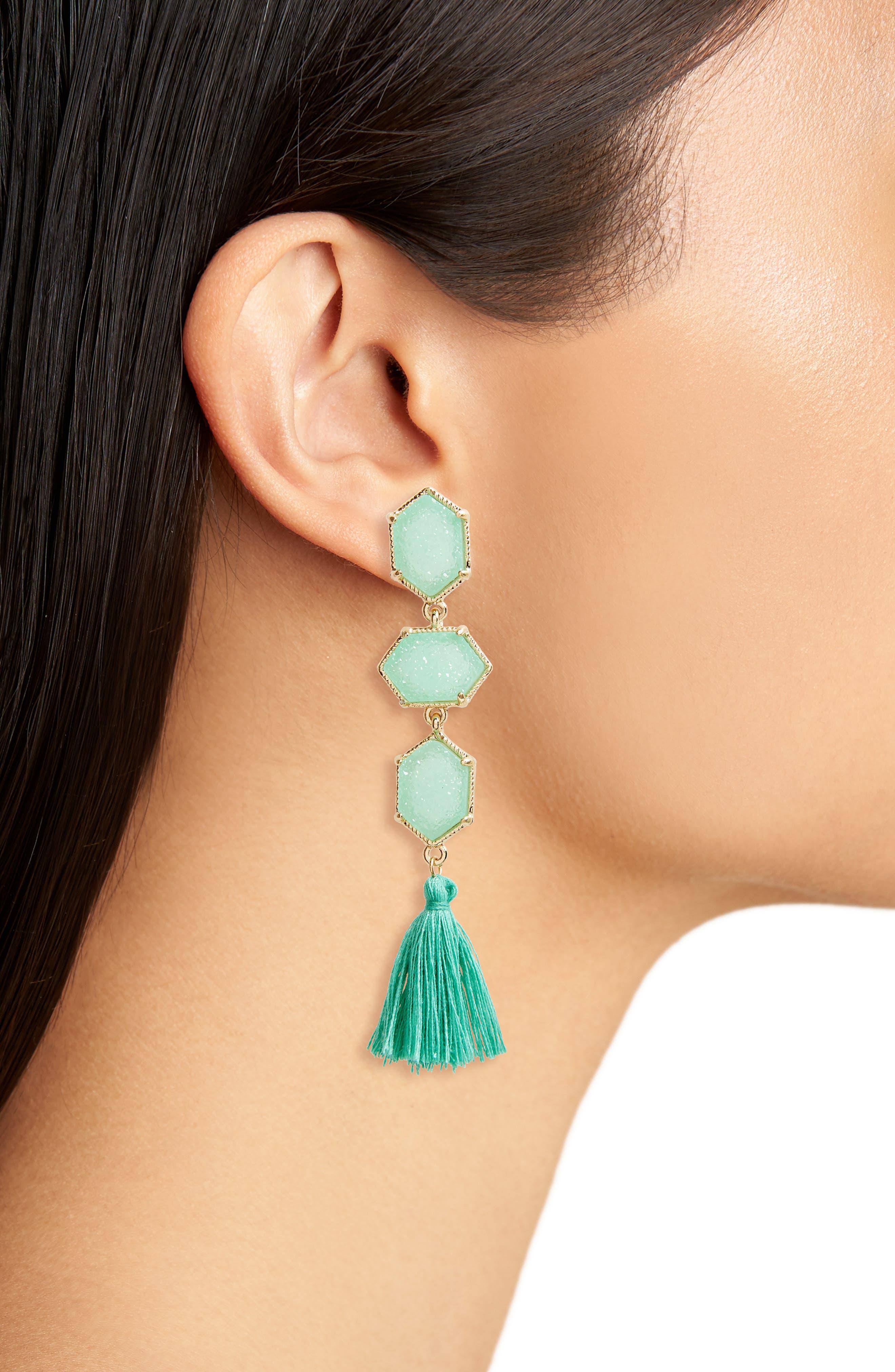 Faux Drusy Tassel Earrings,                             Alternate thumbnail 2, color,                             Mint