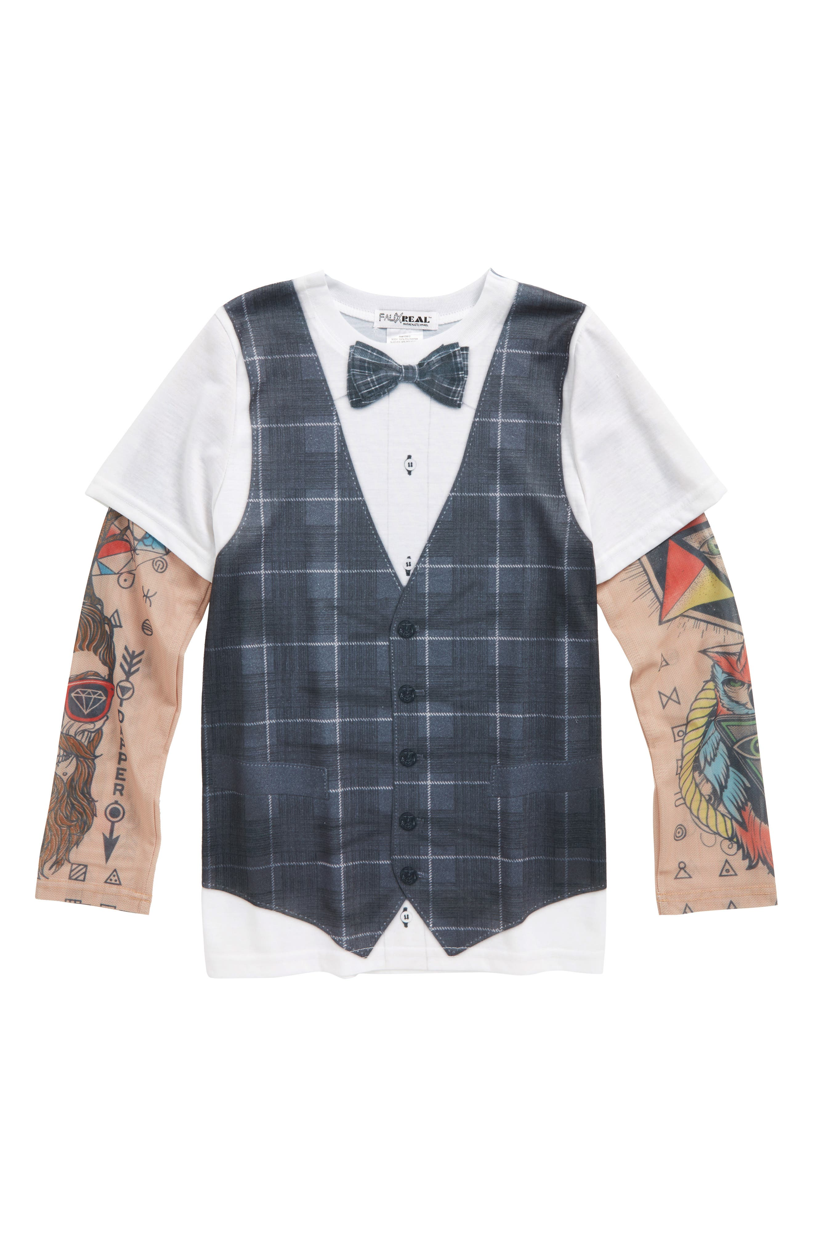 Hipster Vest & Bow Tie T-Shirt with Tattoo Sleeves,                         Main,                         color, Grey