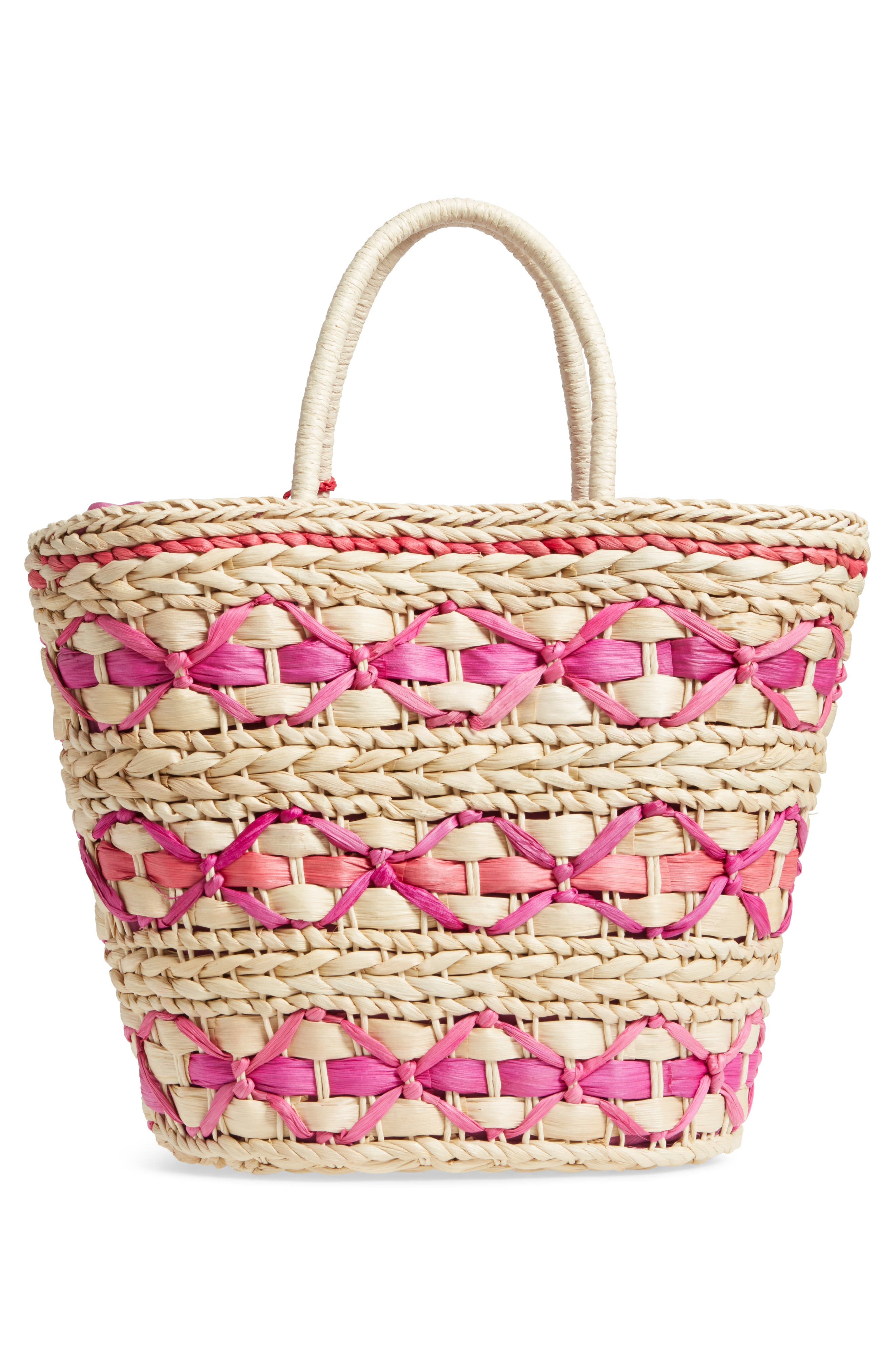 Color Pop Woven Tote,                             Alternate thumbnail 3, color,                             Natural