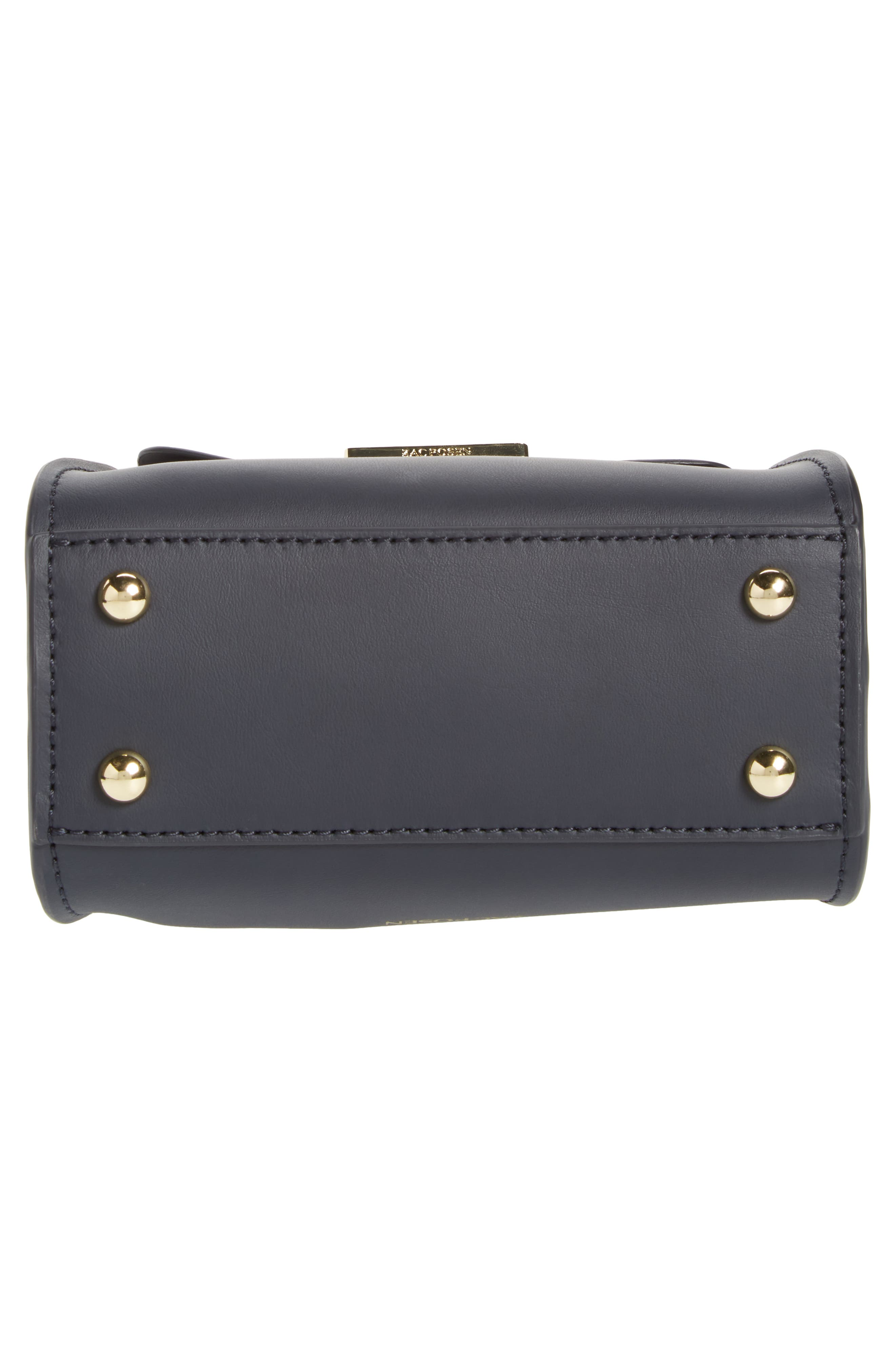 Eartha Iconic Leather Satchel with Genuine Mink Fur Strap,                             Alternate thumbnail 6, color,                             Navy