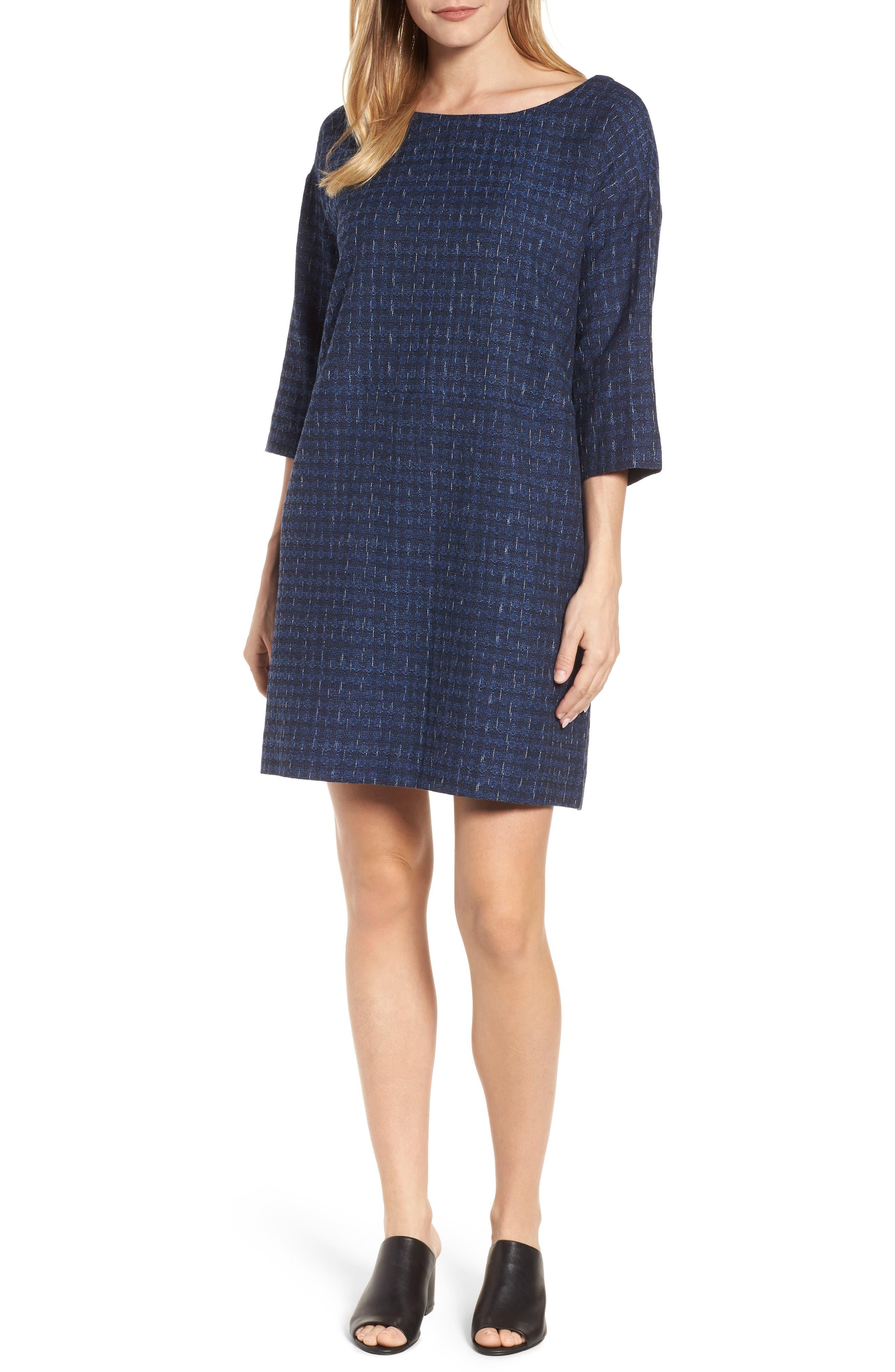 Alternate Image 1 Selected - Eileen Fisher Organic Cotton Jacquard Shift Dress