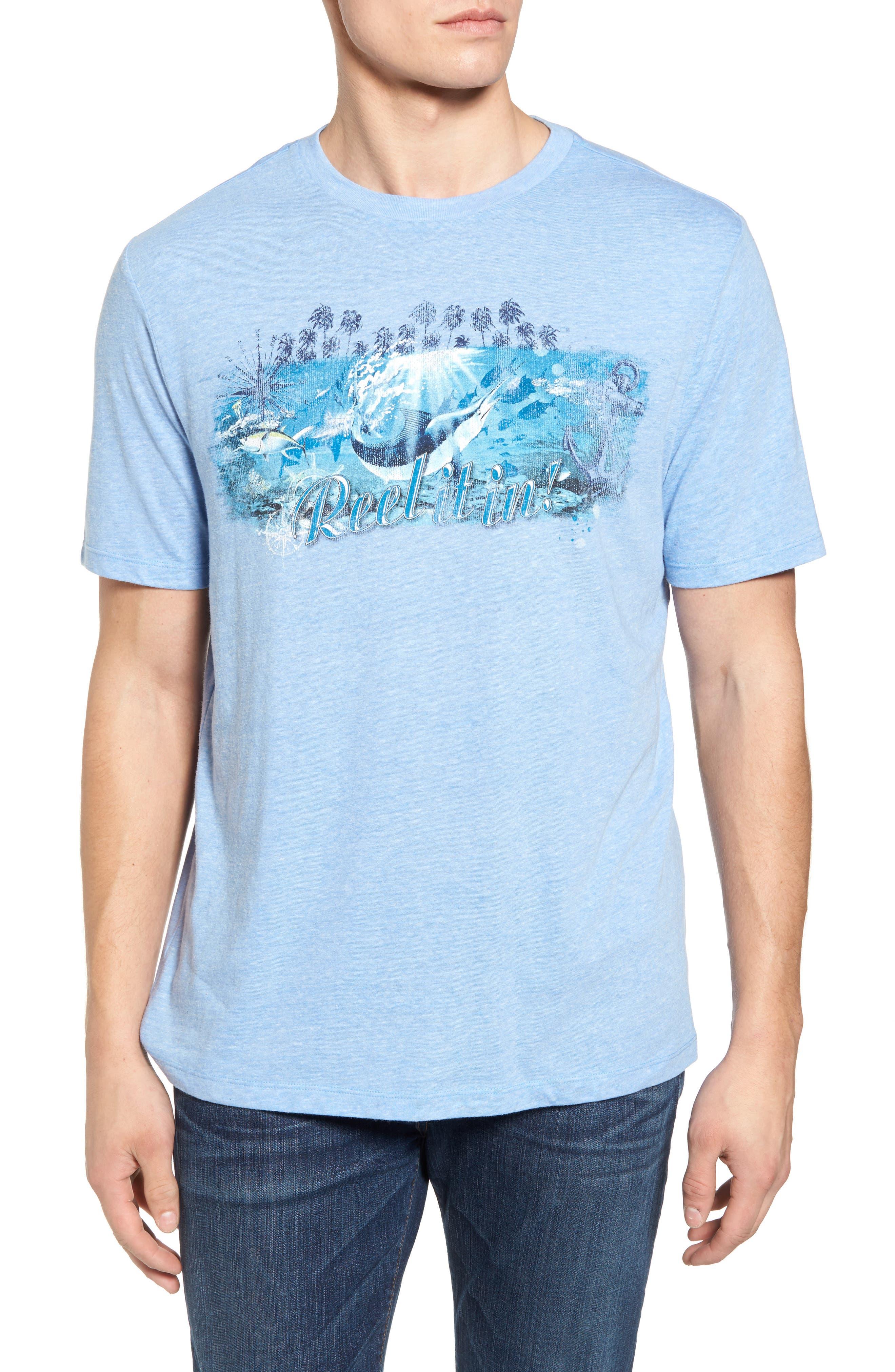 Reel Life Graphic T-Shirt,                             Main thumbnail 1, color,                             Dusty Blue