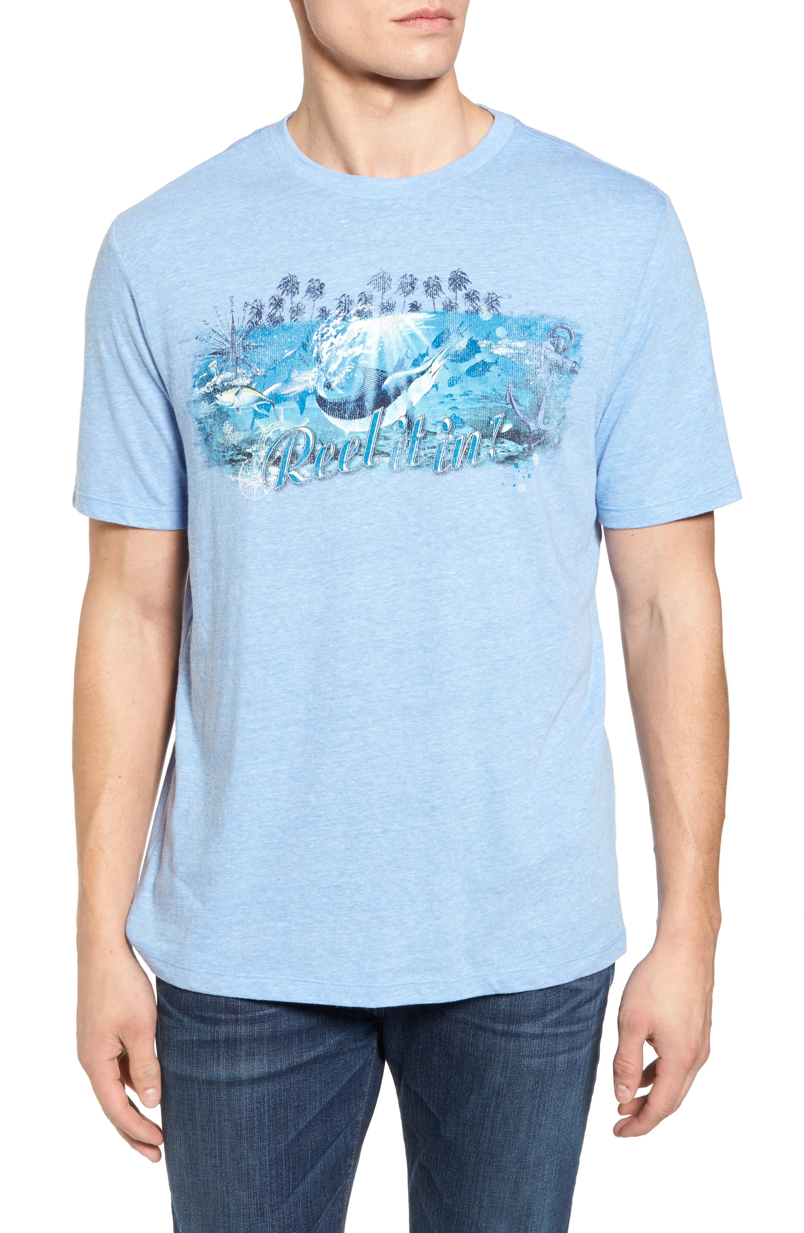 Reel Life Graphic T-Shirt,                         Main,                         color, Dusty Blue
