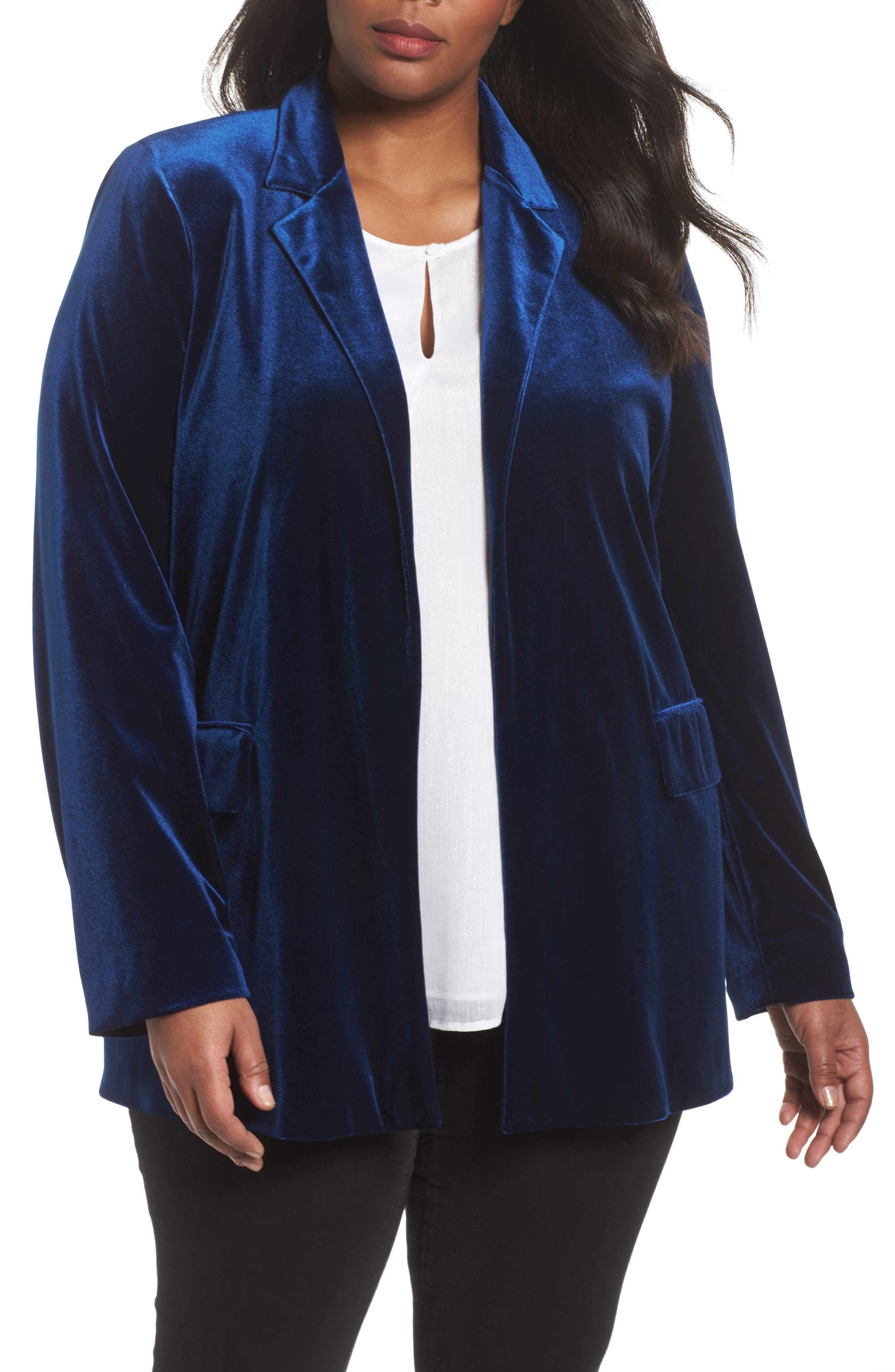 Alternate Image 1 Selected - Persona by Marina Rinaldi Caraibi Velvet Blazer (Plus Size)