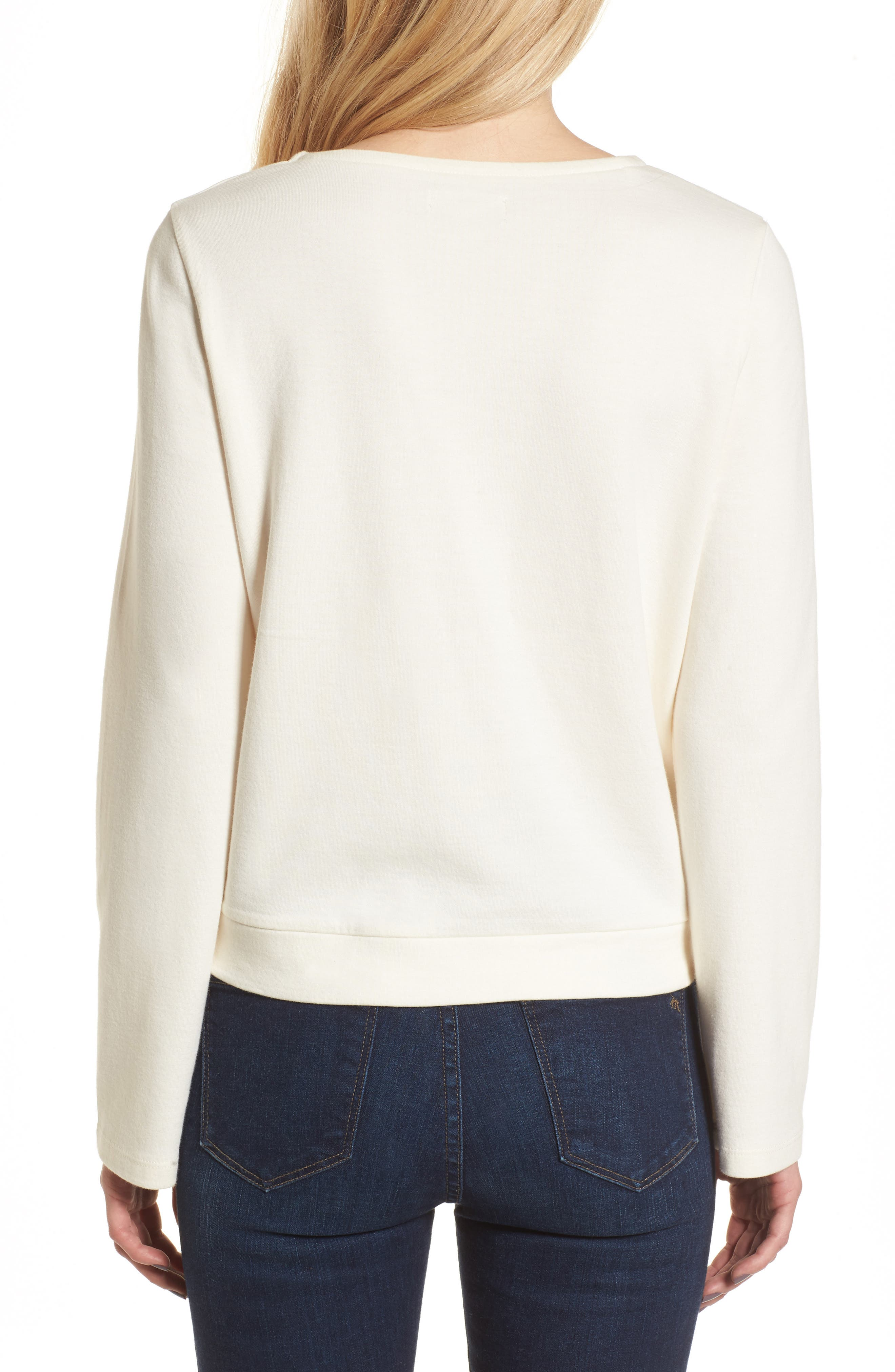 Side Tie Top,                             Alternate thumbnail 2, color,                             Bright Ivory