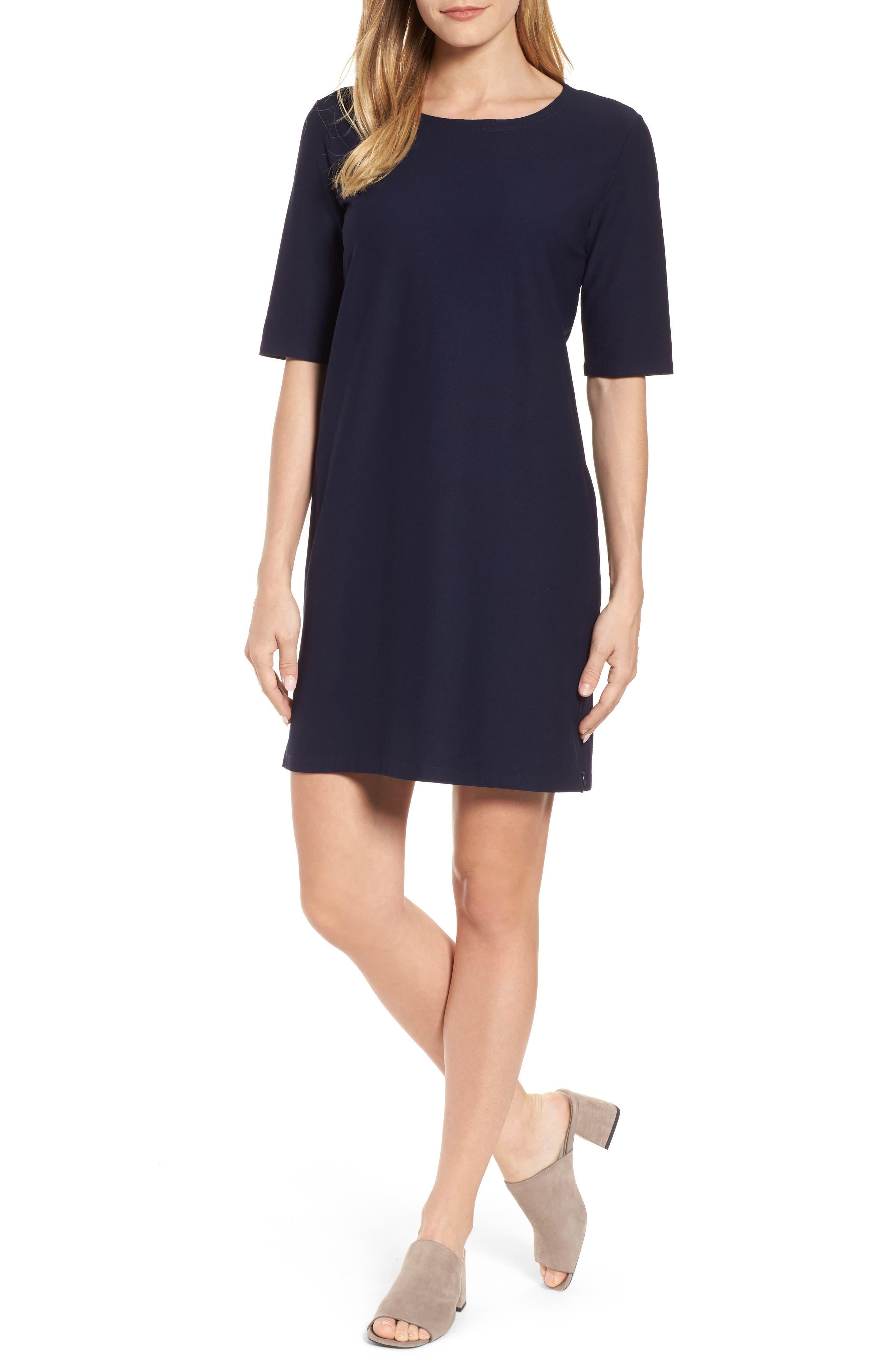 Stretch Knit Shift Dress,                         Main,                         color, Midnight